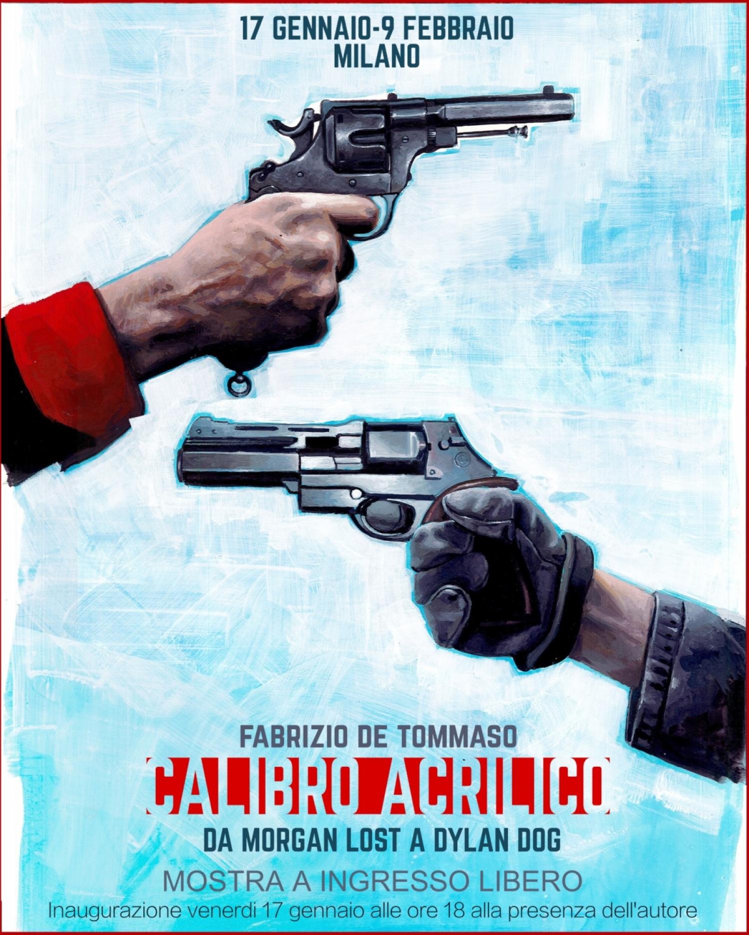 """<p><strong>&ldquo;Calibro Acrilico&rdquo; &egrave; la prima mostra personale dedicata a Fabrizio De Tommaso, disegnatore e illustratore</strong> che ha saputo approcciarsi in modo inedito e originale al ruolo di copertinista, illustrando&nbsp;in particolare&nbsp;le cover della serie&nbsp;<a target=""""_blank"""" href=""""https://www.sergiobonelli.it/sezioni/3445/morgan-lost""""><strong>Morgan Lost</strong></a>, personaggio ideato da Claudio Chiaverotti e pubblicato da <a target=""""_blank"""" href=""""https://www.sergiobonelli.it/"""">Sergio Bonelli Editore</a>. Morgan Lost rappresenta per&ograve; solo una parte della produzione di questo artista,&nbsp;disegnatore anche per Dylan Dog e che ha collaborato con aziende&nbsp;quali Ferrari, Sky Arte e Ford.</p><p>Nato a Brindisi il 5 febbraio 1985 e appassionato di disegno sin dall&rsquo;infanzia, <strong>Fabrizio De Tommaso</strong> decide di farne la sua professione in terza superiore. Dopo il diploma si iscrive alla Scuola Internazionale di Comics a Roma. Nel 2007 si diploma e vince una borsa di studio che lo porter&agrave; all&rsquo;ICAIC di Cuba, per uno stage di animazione. Esordisce come fumettista disegnando per &ldquo;iComics&rdquo; (Kawama Editoriale) e &ldquo;Xcomics&rdquo; (Coniglio Editore). Dal 2009 insegna fumetto presso la Scuola Internazionale di Comics. <strong>La sua consacrazione arriva nell&rsquo;ottobre 2015 con le copertine della serie Morgan Lost</strong>, creata per Sergio Bonelli Editore dallo sceneggiatore Claudio Chiaverotti e che ha come protagonista un cacciatore di taglie&nbsp;a New Heliopolis, citt&agrave; sconvolta dal crimine&nbsp;dove i serial killer sembrano poter operare indisturbati. Le copertine di Morgan Lost&nbsp;colpiscono subito per lo stile pittorico, le atmosfere dark e disturbanti,&nbsp;dove&nbsp;spesso il protagonista nemmeno compare: una scelta piuttosto insolita per la tradizione Bonelli.</p><p><strong>La mostra &ldquo;Calibro Acrilico&rdquo; ripercorre la carriera di Fabrizio De Tommaso con l&rs"""