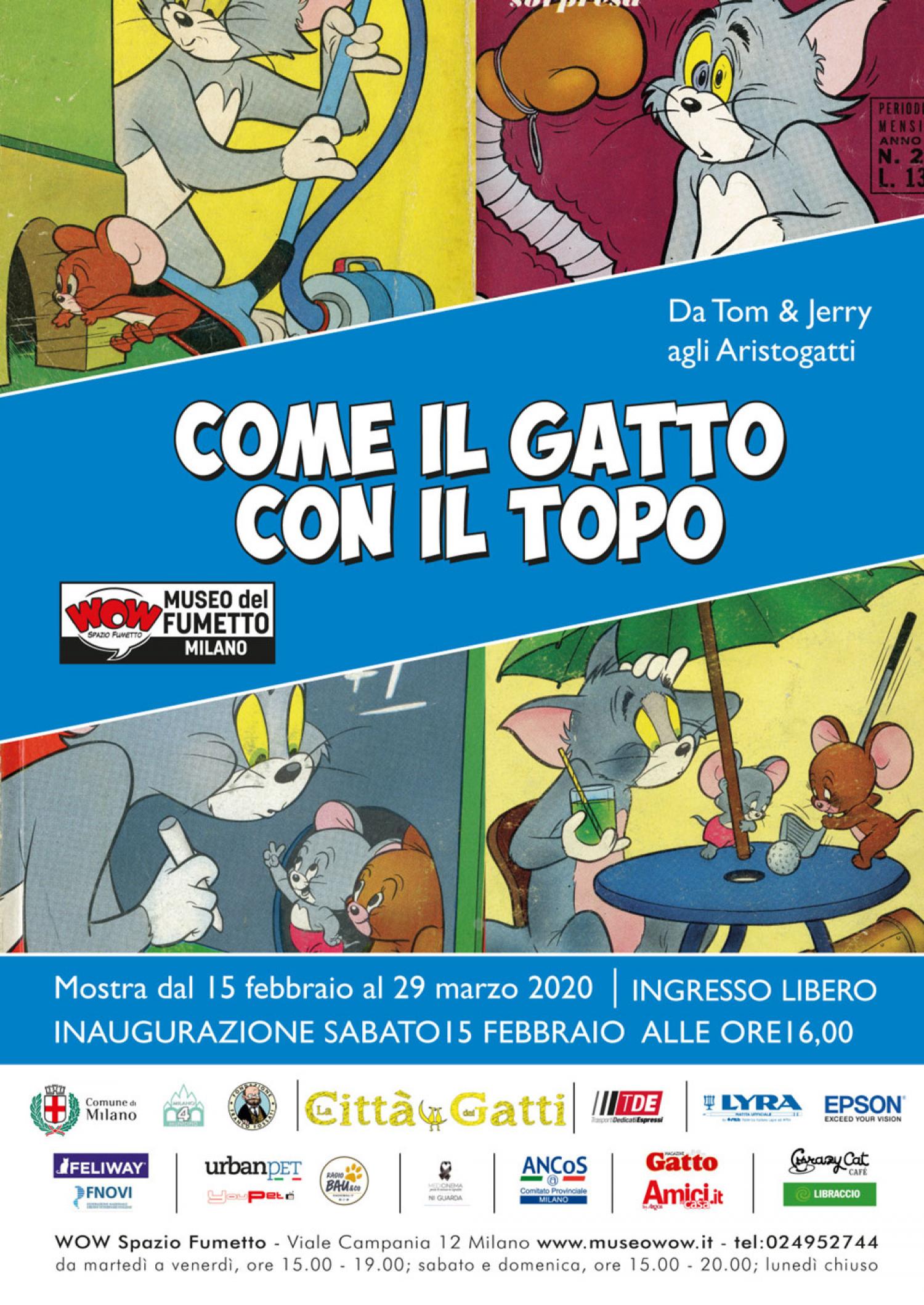 """<p><strong>ATTENZIONE: Da marted&igrave; 16 giugno la mostra sar&agrave; visitabile solo nei weekend</strong></p><p>&nbsp;</p><p>Il rapporto tra gatti e topi &egrave; qualcosa di strano e unico. E, proprio per questa ragione, in occasione de <a href=""""http://www.lacittadeigatti.it/"""">La citt&agrave; dei gatti 2020</a>, i gatti e i topi sono al centro della mostra realizzata da Wow Spazio Fumetto di Milano. L&rsquo;esposizione, infatti, propone una carrellata su queste strane coppie di amici nemici che sono state protagoniste di fumetti e disegni animati.</p><p>Ecco allora, accanto a storie come quella di <strong>Krazy Kat</strong>, la gatta innamorata di un topo che risponde al suo amore a colpi di mattone, anche la storia della controversa amicizia/inimicizia tra <strong>Gambadilegno</strong> e <strong>Topolino</strong>.</p><p>La mostra, soprattutto, racconta le avventure della coppia gatto-topo pi&ugrave; famosa al mondo: <strong>Tom &amp; Jerry</strong>. Nel 2020 queste due star di Hollywood <strong>compiono 80 anni</strong>: la loro prima&nbsp;apparizione sul grande schermo risale, infatti, al 1940.</p><p>&nbsp;</p><p><em>Inaugurazione sabato 15 Febbraio alle ore 16.00.</em></p>"""