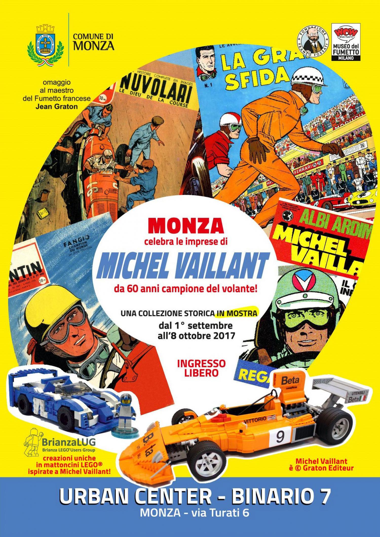 """<p><strong>Come correre in prima persona le corse automobilistiche sui circuiti di tutto il mondo?</strong> Come stare al fianco di un campione a Le Mans, a Indianapolis, a Daytona o, naturalmente, all&#39;autodromo di Monza? <strong>Essere con <a target=""""_blank"""" href=""""http://www.michelvaillant.com/"""">Michel Vaillant</a> nei rally pi&ugrave; entusiasmanti</strong>, pilotare auto eccezionali in F1, F2, F3, <strong>scoprire il mondo delle corse da dietro le quinte</strong>, vedere come nascono vetture da sogno, conoscere la vita dello stuntman, del motociclista, del pilota di motoscafo e del camionista sono esperienze appassionanti. <strong>Dall&#39;arte dell&#39;autore francese <a target=""""_blank"""" href=""""http://www.lfb.it/fff/fumetto/aut/g/graton.htm"""">Jean Graton</a></strong>&nbsp;- scrittore e disegnatore -&nbsp;<strong>&egrave; nato nel 1957 sulle pagine della rivista belga <em>Tintin</em> un&nbsp;protagonista del fumetto mondiale</strong>. L&#39;incredibile realismo dei disegno e l&#39;abilit&agrave; narrativa di Graton hanno determinato 60 anni di successo del personaggio. <strong>La mostra-omaggio della <a target=""""_blank"""" href=""""http://www.comune.monza.it/it/eventi/?id=2779"""">citt&agrave; di Monza</a></strong>&nbsp;offre un percorso inedito, che oltre a esporre pezzi della Fondazione Franco Fossati viene arricchito dalle creazioni uniche in<strong> mattoncini LEGO</strong> realizzate dagli artisti di<strong> <a target=""""_blank"""" href=""""http://www.brianzalug.it/"""">BrianzaLUG</a></strong>. &nbsp; <strong>Jean Graton</strong> L&rsquo;autore francese Jean Graton (Nantes, 10 agosto 1923) si forma in Belgio alla grande scuola dei settimanali per ragazzi <em>Spirou</em> e <em>Tintin</em>. Su quest&rsquo;ultimo pubblica racconti brevi a fumetti di ambiente sportivo: ha nel cuore il progetto di un nuovo personaggio, un pilota automobilistico, e ne delinea le caratteristiche in racconti brevi di prova. Michel Vaillant nasce cos&igrave; ufficialmente il 7 febbraio 1957 sulle pagine"""