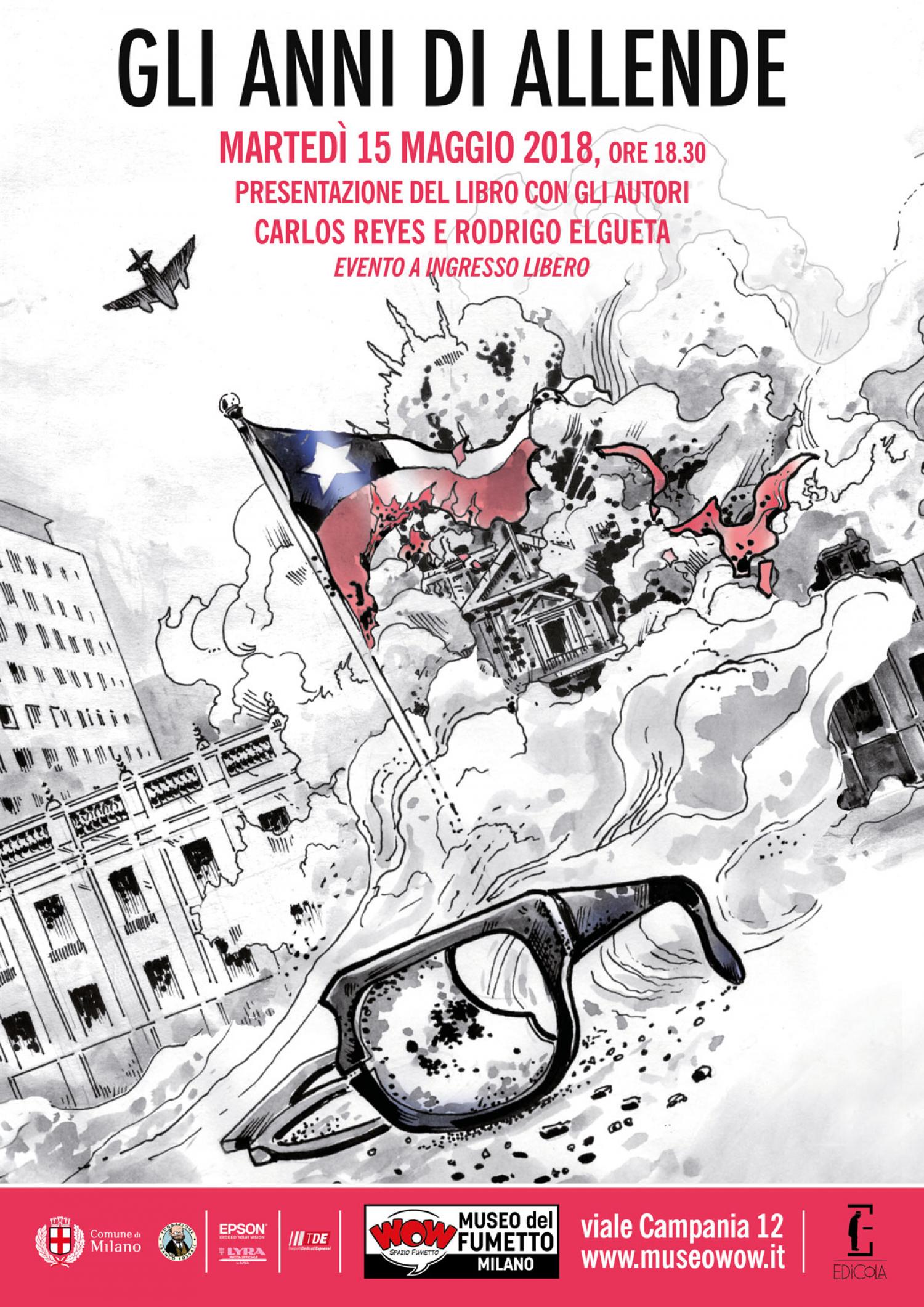 """<p><strong>Quando il 4 settembre 1970 Salvador Allende divenne il primo presidente socialista democraticamente eletto, i riflettori di tutto il mondo si accesero sul Cile</strong>. Il volume <strong><a target=""""_blank"""" href=""""http://www.edicolaed.com/negozio/illustrati-it/gli-anni-di-allende/""""><em>Gli anni di Allende</em></a>, la graphic novel realizzata dai cileni&nbsp;Rodrigo Elgueta e Carlos Reyes</strong>,&nbsp;ripercorre con passione e rigore storico proprio quegli anni. Il libro &egrave; - sia dal punto di vista dei contenuti che delle immagini - frutto di una ricerca storica e iconografica minuziosa e dettagliata che si traduce nel realismo grafico e nella ricchezza dei testi. &Egrave; attraverso gli occhi di John Nitsch, giornalista nordamericano inviato in Cile pochi mesi prima dell&rsquo;elezione di Allende, che il lettore conoscer&agrave; non soltanto il susseguirsi vertiginoso dei fatti politici che culminarono nel colpo di Stato di Pinochet, ma anche il contesto sociale e culturale che animava il Cile in quegli anni: dalla musica popolare di Victor Jara al cinema di Ra&uacute;l Ruiz, dall&rsquo;arte di strada della Brigada Ramona Parra fino alle celebrazioni per il Nobel a Pablo Neruda. <strong>Marted&igrave; 15 maggio alle ore 18:30 WOW Spazio Fumetto, in collaborazione con la <a target=""""_blank"""" href=""""http://www.edicolaed.com"""">casa editrice Edicola</a>, ospita la presentazione del volume <em>Gli anni di Allende</em></strong>, graphic novel vincitrice in Italia del Premio Liberi di Scrivere. <strong>Saranno presenti gli autori,&nbsp;i cileni Rodrigo Elgueta (illustratore) e Carlos Reyes (sceneggiatore)</strong>, per raccontare al pubblico la sfida di trasformare a fumetti uno dei capitoli pi&ugrave; complessi ed emozionanti della storia moderna. Dialogheranno con loro gli editori Paolo Primavera e Alice Rifelli. <strong>Ingresso libero</strong> all&#39;evento.<strong> GLI AUTORI</strong> &nbsp; <strong>Carlos Reyes</strong> &egrave; sceneggiatore, editore"""