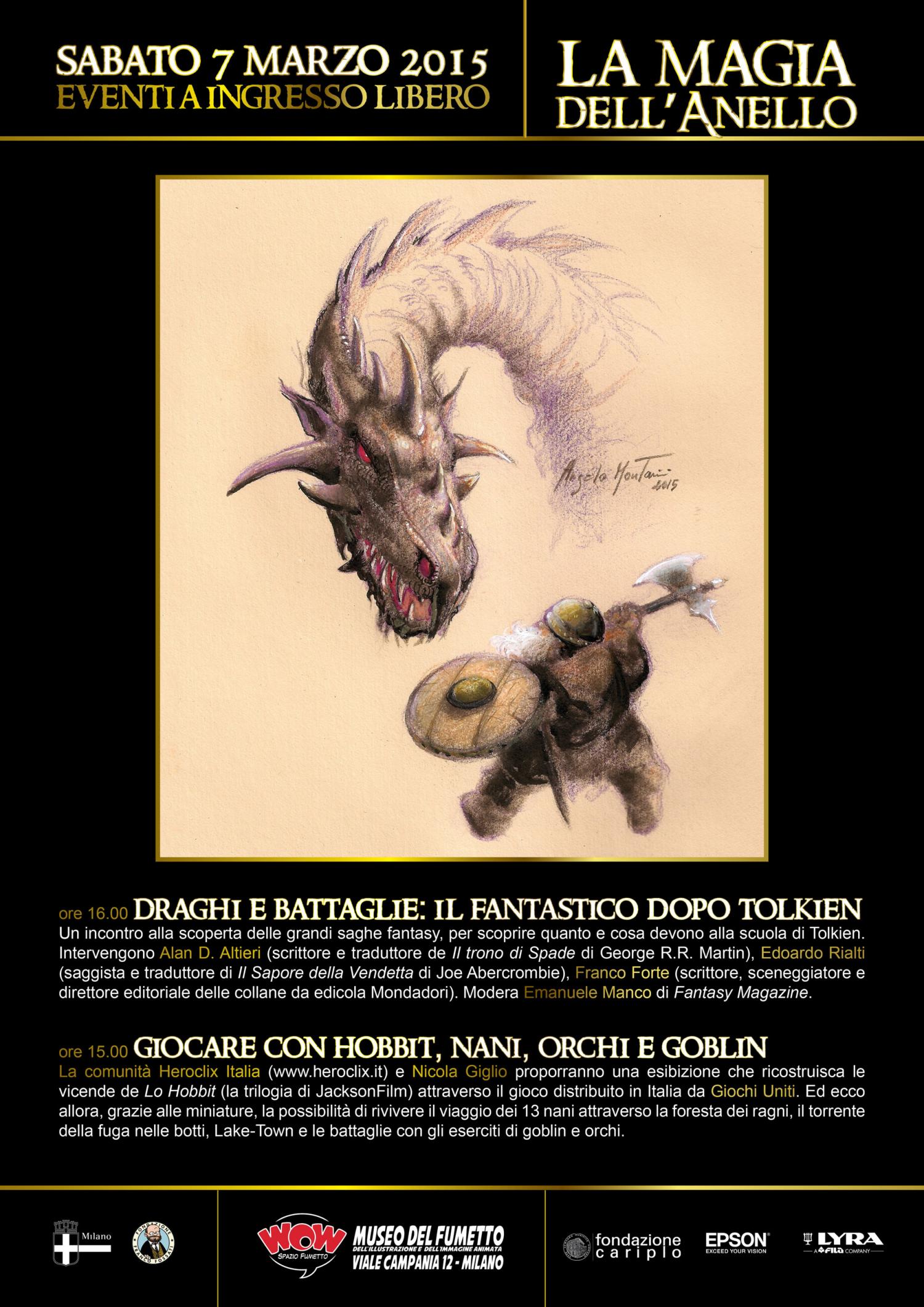 <p>WOW Spazio Fumetto si trasforma nella Terra di Mezzo ospitando una grande mostra dedicata alla saga de &ldquo;Il Signore degli Anelli&rdquo;, a partire dall&rsquo; intrigante figura dell&rsquo;autore dei romanzi J.R.R. Tolkien fino alle fortunate trasposizioni cinematografiche di Peter Jackson, passando dall&rsquo;opera dei grandi illustratori, dalle parodie, dal collezionismo e dagli altri mille mondi che compongono questa moderna mitologia fantasy. Grazie alla collaborazione dei pi&ugrave; importanti collezionisti ed esperti, come la Societ&agrave; Tolkieniana Italiana , Dama Collection , il Greisinger Museum (unico museo al mondo dedicato alla Terra di Mezzo) e Fermo immagine &ndash; Museo del Manifesto Cinematografico, i visitatori potranno avventurarsi in un viaggio unico che permetter&agrave; di scoprire come dalle parole si sia passati alle immagini: edizioni rare, dipinti, illustrazioni, tavole originali,fotografie, manifesti cinematografici, locandine, fotobuste, video, statue, action figures, videogames, giochi da tavolo, gadget, libri, fantastici plastici realizzati con migliaia di mattoncini LEGO e molto altro&hellip; Per immergersi ancora di pi&ugrave; nella Terra di Mezzo e scoprirne tutti i segreti, il visitatore potr&agrave; interagire con le installazioni multimediali realizzate in collaborazione con GlobalMedia e Epson. Grazie alla Mappa interattiva della Terra di Mezzo sar&agrave; possibile visualizzare clip delle principali scene tratte dalle due trilogie cinematografiche, scoprendo dove si sono svolte le battaglie pi&ugrave; epiche e gli incontri pi&ugrave; spettacolari. Inoltre il visitatore potr&agrave; tentare di rubare l&#39;Unico Anello alla statua di Gollum: provateci e ne scoprirete le conseguenze! E in pi&ugrave; laboratori, incontri, giornate ludiche e tanti appuntamenti all&rsquo;insegna del mondo tolkieniano per testimoniare come l&rsquo;opera nata dall&rsquo;estro di Tolkien alimenti il nostro immaginario da oltre settant&rsquo;an