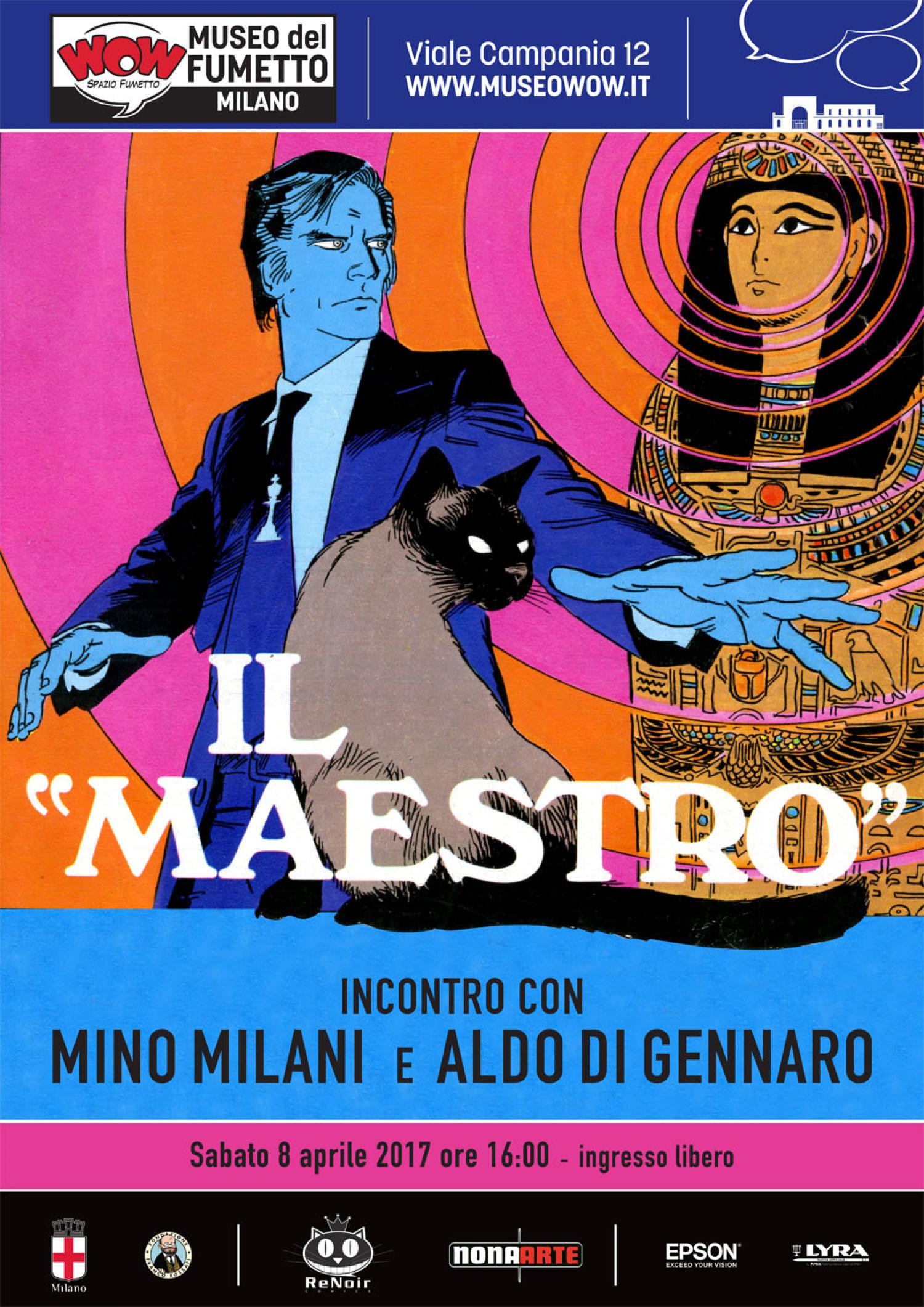 """<p><strong>Il Maestro era una delle colonne portanti del <em><a target=""""_blank"""" href=""""http://www.lfb.it/fff/fumetto/test/c/cdr.htm"""">Corriere dei Ragazzi</a></em></strong>, la versione &ldquo;da grandi&rdquo; del <em><a target=""""_blank"""" href=""""http://www.lfb.it/fff/fumetto/test/c/cdp.htm"""">Corriere dei Piccoli</a></em>, pubblicata tra il 1972 e il 1976. Il Maestro nasce sul numero 7 del 1974 &ndash; lo stesso numero sul quale esordisce Lupo Alberto &ndash; <strong>dalla fantasia di <a target=""""_blank"""" href=""""http://www.lfb.it/fff/fumetto/aut/m/milani.htm"""">Mino Milani</a> e dalle matite di <a target=""""_blank"""" href=""""http://www.lfb.it/fff/fumetto/aut/d/digennaro.htm"""">Aldo Di Gennaro</a></strong>. &Egrave; un personaggio misterioso, un uomo di cui si conosce solo il nome proprio, Maximus. <strong>Studioso dell&#39;occulto e dotato di poteri paranormali</strong>, combatte contro le forze oscure che minacciano il mondo. Nelle sue storie si fondono <strong>mistero, leggende, archeologia e ufologia</strong>, precedendo di parecchi anni due personaggi pi&ugrave; noti, molto legati a questi temi, ovvero Martin Myst&egrave;re (1982) e Dylan Dog (1986). Ad affiancare il Maestro nelle sue avventure troviamo la gatta Nardy, anche lei sensibile al paranormale, il maggiordomo Astor e soprattutto il bel tenente di polizia Velda Morris. <strong>La nuova edizione delle sue avventure pubblicata da <a target=""""_blank"""" href=""""http://www.renoircomics.it/"""">ReNoir Comics/NonaArte</a>, presentata in anteprima a WOW Spazio Fumetto, &egrave; la prima che ne raccoglie tutti gli episodi</strong>, compresi i due disegnati da Giancarlo Alessandrini, creatore grafico di Martin Myst&egrave;re. <strong>Sabato 8 aprile alle ore 16:00 gli autori Mino Milani e Aldo Di Gennaro saranno ospiti a WOW Spazio Fumetto</strong>, parlando del loro personaggio, del loro metodo di lavoro e per ripercorrere assieme agli appassionati le loro lunghe e ricche carriere, fondamentali per la storia del fumetto italiano. <strong>G"""