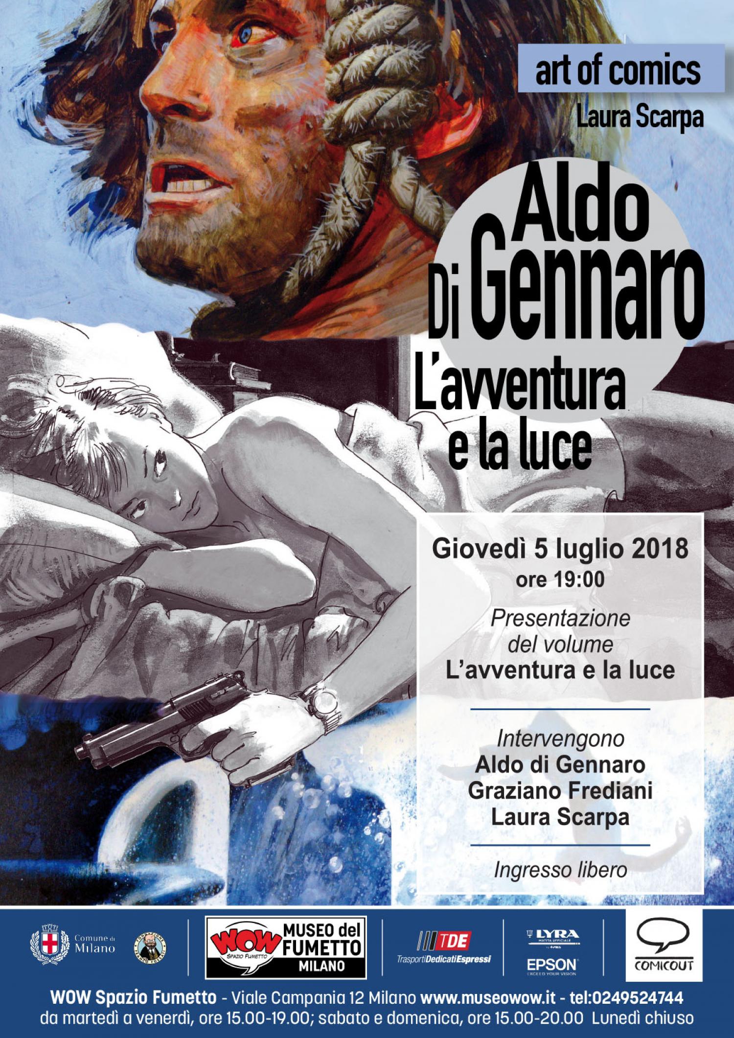 """<p><strong>Festeggia 80 anni <a target=""""_blank"""" href=""""http://www.aldodigennaro.com"""">Aldo Di Gennaro</a></strong>, indiscusso maestro dell&#39;illustrazione e del fumetto italiano, dalla lunga e articolata carriera che va dagli anni Sessanta a oggi. L&#39;autore ha formato generazioni di illustratori, fumettisti e lettori appassionati sulle pagine del &ldquo;Corriere dei Piccoli&raquo; e &laquo;Corriere dei Ragazzi&raquo;, per poi collaborare&nbsp;con Rizzoli, dai supplementi dei quotidiani alle copertine di libri, passando da un realismo impressionante ad un segno ironico e leggero. Oggi collabora con la Sergio Bonelli Editore, con illustrazioni, fumetti e copertine. <strong>Per i suoi 80 anni <a target=""""_blank"""" href=""""http://comicout.com"""">ComicOut</a> gli ha dedicato un volume che percorre la sua carriera</strong>, non in una sequenza storica, ma attraverso rimandi di tematiche e stili, raccontando la tecnica, ma anche il sudore e la passione di questo artista della carta e del colore. <strong>Gioved&igrave; 5 luglio 2018 alle ore 19:00 i festeggiamenti inizieranno a WOW Spazio Fumetto di Milano, con la prima presentazione del volume Aldo di Gennaro &ndash; L&rsquo;avventura e la luce: il maestro racconter&agrave; il suo mestiere e la sua arte, dialogando con Graziano Frediani e Laura Scarpa</strong>. <strong>Aldo di Gennaro</strong> &egrave; uno dei maggiori illustratori italiani per fama, arte e per la sua incredibile variet&agrave; di segno. Nasce a Milano nel 1938 e inizia giovanissimo, nel 1956, lavorando per la cartellonistica e con lo studio Dami.&nbsp;Dal 1962 parte la collaborazione, fondamentale nella sua crescita artistica, al &laquo;Corriere dei Piccoli&raquo;, con racconti illustrati e fumetti: Il Treno del Sole, il Piccolo cow-boy, Piccole donne, Fortebraccio, Efrem e molti altri racconti di Mino Milani. Alla nascita del &laquo;Corriere dei Ragazzi&raquo; disegner&agrave; soprattutto storie autoconclusive e, dal 1974, la serie Il Maestro. Negli anni su"""