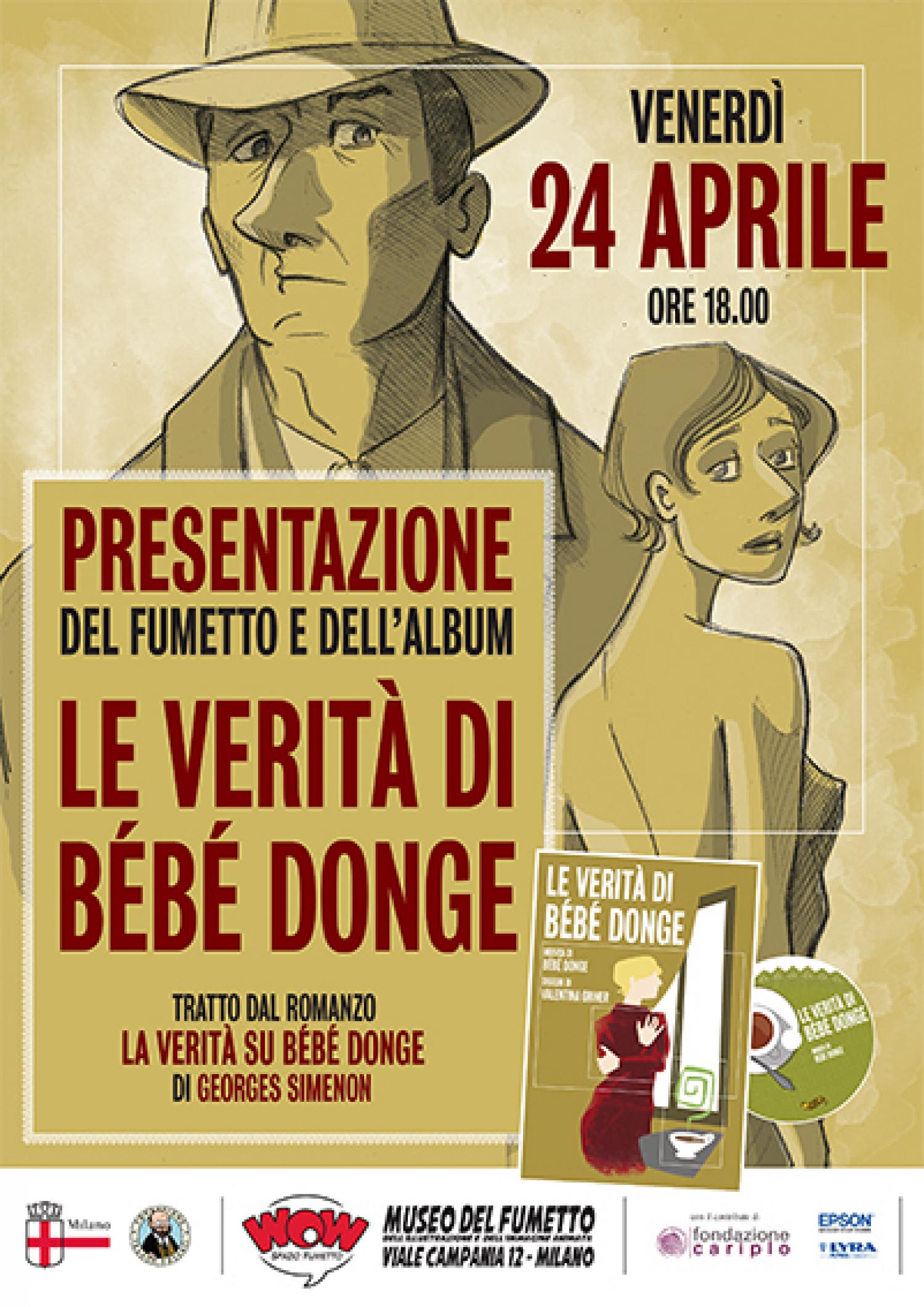 <p>Il collettivo romano B&eacute;b&eacute; Donge ha interpretato a modo proprio il romanzo di Georges Simenon &ldquo;Le verit&agrave; di B&eacute;b&eacute; Donge&rdquo; da cui prende il nome. Il risultato sono un disco e un fumetto molto particolari, dalle sonorit&agrave; e dal tratto un po&#39; retro, che verranno presentati venerd&igrave; 24 aprile alle ore 18:00 a WOW Spazio Fumetto. All&#39;incontro sar&agrave; presente la disegnatrice Valentina Griner, autrice del fumetto, che racconter&agrave; i dietro le quinte di questo progetto cos&igrave; particolare.</p>