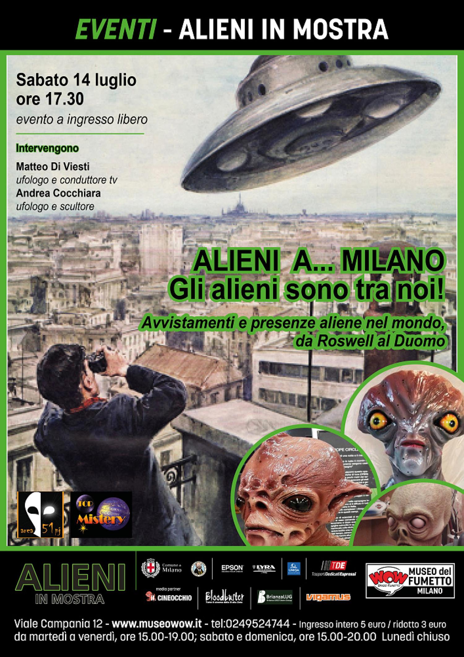 """<p><strong>La <a target=""""_blank"""" href=""""http://www.museowow.it/wow/alieni-in-mostra/"""">mostra Alieni</a> &egrave; lo spunto per affrontare l&#39;argomento UFO e scoprire quanti e quali siano stati gli avvistamenti di Oggetti Volanti non Identificati. Per farlo, sabato 14 luglio alle ore 17:30 WOW Spazio Fumetto ospiter&agrave; un incontro dedicato agli avvistamenti di dischi volanti e affini</strong>, in particolare sul cielo della nostra citt&agrave;. <strong>Interverranno Matteo Di Viesti</strong>, ufologo e conduttore tv del programma Top Mistery, e <strong>Andrea Cocchiara</strong>, scultore di alieni e animatore del Top Mistery club, il primo club del mistero a Milano. Oltre a raccontarci gli avvistamenti che da Roswell al Duomo hanno riempito le cronache dei giornali e che in Italia sono state raccontate dalle splendide copertine de La Domenica del Corriere (molte delle quali esposte in mostra), Andrea Cocchiara dar&agrave; una dimostrazione di come crea le sue affascinanti e magnetiche statue dedicate ai diversi tipi di alieni.&nbsp;L&#39;incontro sar&agrave; trasmesso sul canale Anima millenaria. Gli avvistamenti di UFO su Milano iniziano ben quattordici anni prima del 24 giugno 1947, quando il pilota americano Kenneth Arnold disse di aver incontrato nove &ldquo;dischi volanti&rdquo; che volavano in formazione nei pressi del Monte Rainer, e del 7 luglio dello stesso anno, quando un oggetto volante non identificato si schiant&ograve; a Roswell e &ndash; si dice &ndash; ne vennero recuperati dai militari statunitensi i corpi dei piloti extraterrestri. Il 13 giugno del 1933 nei pressi di Milano sarebbe caduto un UFO che, prontamente recuperato dalle milizie fasciste, sarebbe stato trasportato a Vergiate e preso in custodia per essere studiato dal Gabinetto RS 33 (Ricerche Speciali) guidato da Ettore Majorana. Pare che un secondo avvistamento sia avvenuto circa due mesi dopo, ma nonostante si fosse levata in volo una squadriglia di aerei l&#39;oggetto volante non """