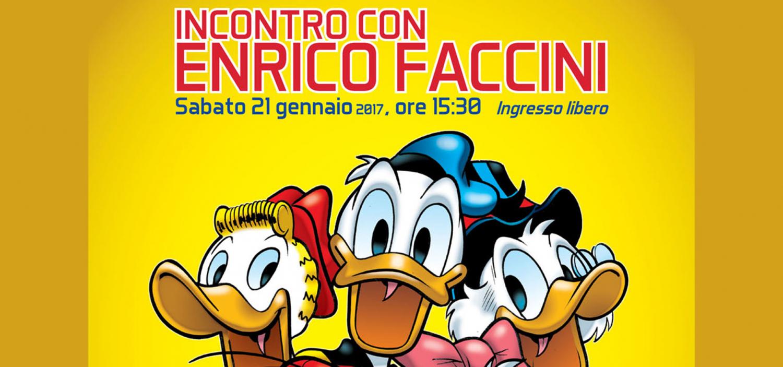 """<p><strong>Continuano gli appuntamenti organizzati in occasione della mostra &ldquo;<a href=""""http://www.museowow.it/wow/it/mostra-quattro-volte-paperino/"""">Quattro volte Paperino</a>&rdquo;</strong>.&nbsp;Sabato 21 gennaio alle ore 15.30<strong> Enrico Faccini</strong>, uno degli autori pi&ugrave; rappresentativi del settimanale Topolino, incontra i lettori per raccontare la sua carriera e in particolare il suo rapporto con il mondo Disney. Enrico Faccini &egrave; un artista dotato di uno stile inconfondibile, che ha saputo riprendere la lezione di grandi artisti italiani e statunitensi per dare vita a una serie di <strong>storie comiche, folli e demenziali</strong> che hanno solitamente per <strong>protagonisti Paperino e il suo disastroso cugino Paperoga</strong>. Oltre a questo filone di storie da lui create come autore completo, Faccini ha avviato anche una proficua collaborazione con altri artisti, sia come sceneggiatore di storie disegnate da altri che come disegnatore.<strong> Insieme con Casty</strong> ha inoltre realizzato alcune storie con Topolino protagonista, che si segnalano per le <strong>atmosfere surreali e inquietanti</strong>. L&rsquo;incontro ripercorrer&agrave; la carriera di Enrico Faccini e il suo lavoro per il settimanale Topolino, a cui seguir&agrave; una sessione di dediche e disegni. <a href=""""http://www.museowow.it/wow/it/paperino-e-disney-fumetti-gadget-e-idee-regalo-al-bookshop/"""">Presso il bookshop di WOW Spazio Fumetto</a> sar&agrave; possibile acquistare il volume Topolino Fluo Edition, interamente dedicato alle storie da lui create. Il giorno dopo, <strong>domenica 21 gennaio</strong>, i ragazzi dagli 8 anni in su potranno partecipare a uno speciale <strong><a href=""""http://www.museowow.it/wow/it/week-end-al-wow/"""">laboratorio</a> sulle identit&agrave; segrete di Paperino e Paperina</strong>: Paperinik e Paperinika. L&#39;autore Enrico Faccini nasce il 2 marzo 1962 a Santa Margherita Ligure. Dopo gli studi umanistici, si indirizza verso """