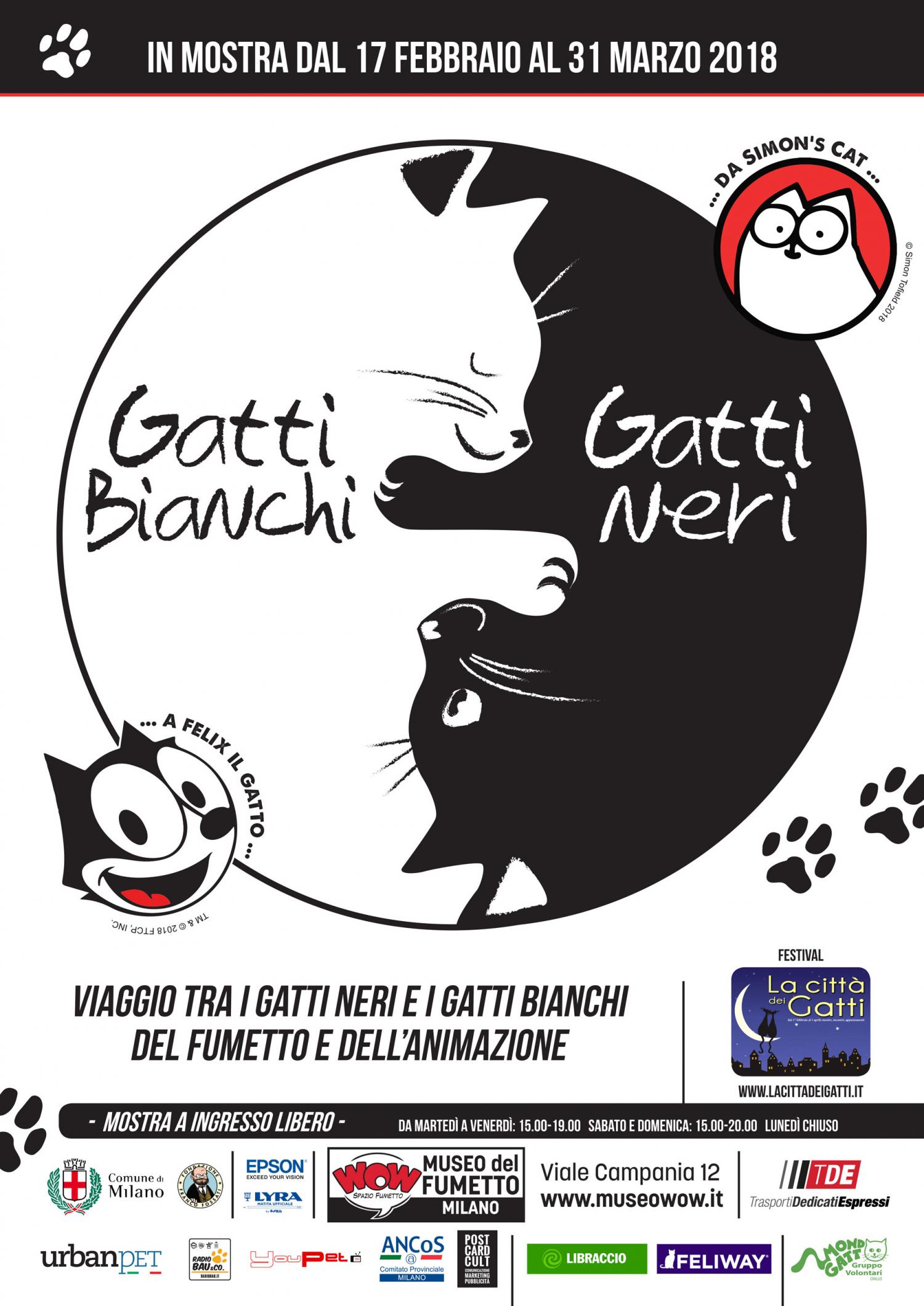 """<p>Dal 1990, per volont&agrave; delle pi&ugrave; importanti associazioni feline, il 17 febbraio si festeggia la Giornata Nazionale del Gatto. A Milano e a Roma, il festival <a target=""""_blank"""" href=""""http://www.lacittadeigatti.it/"""">La citt&agrave; dei gatti</a> presenta una serie di iniziative dedicate ai catofili, ospitate nei luoghi ad alto tasso di &ldquo;felinit&agrave;&rdquo; delle due citt&agrave;, che raccontano il gatto non solo come amico dell&rsquo;uomo, ma come protagonista della cultura, del tempo libero, della musica e dell&rsquo;arte. WOW Spazio Fumetto partecipa all&rsquo;iniziativa con una <strong>mostra unica dedicata ai gatti neri e bianchi pi&ugrave; famosi del cinema, dell&rsquo;animazione e dell&rsquo;immaginario</strong>. Il progetto, realizzato in collaborazione con <a target=""""_blank"""" href=""""http://www.urbanpetitalia.com/"""">UrbanPet</a>, <a target=""""_blank"""" href=""""http://radiobau.it/"""">Radio Bau</a>, <a target=""""_blank"""" href=""""http://www.youpet.it/"""">Youpet.it</a> e <a target=""""_blank"""" href=""""https://www.feliway.com/it"""">Feliway&reg;</a>, verr&agrave; presentato, in concomitanza con l&rsquo;inaugurazione della mostra, <strong>sabato 17 febbraio, alle ore 17.00</strong>, con un <strong>incontro speciale</strong> nel quale verranno assegnati il <strong>premio UrbanCat </strong>e il<strong> premio Anna Magnani</strong>. Con i loro movimenti sinuosi, la loro instancabile voglia d&rsquo;indipendenza, l&rsquo;innaturale quanto giustificata superbia, la magia ammaliante del loro sguardo i gatti hanno da sempre colpito <strong>l&rsquo;immaginazione degli artisti</strong>, non ultima quella dei grafici, dei fumettisti e degli animatori. A partire dal celebre gatto nero che campeggiava sui manifesti de <strong>Le Chat Noir</strong>, uno dei locali pi&ugrave; celebri della Parigi di fine ottocento, fino ai gatti ancora oggi utilizzati in pubblicit&agrave; &egrave; stato tutto un fiorire di segni grafici e artistici che in oltre cento anni di grafica hanno omaggiato i"""