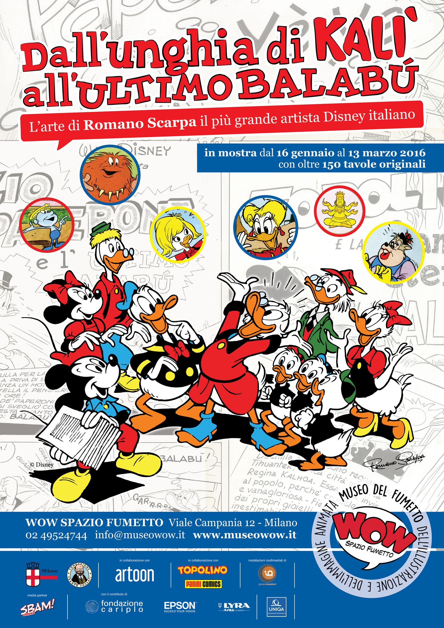 """<p>Con una mostra davvero unica nel suo genere, presentiamo l&rsquo;arte di <a target=""""_blank"""" href=""""http://www.lfb.it/fff/fumetto/aut/s/scarpa.htm"""">Romano Scarpa</a>, il pi&ugrave; grande disegnatore Disney italiano, che ha saputo lasciare un segno indelebile nella produzione Disney italiana e internazionale. Grazie alla preziosa collaborazione di Marco Castelletta, il maggior collezionista italiano di opere di Romano Scarpa,&nbsp;e di altri collezionisti disneyani e ai materiali custoditi nell&#39;archivio della Fondazione Franco Fossati, sar&agrave; possibile ammirare il lavoro del grande artista non solo grazie alle oltre <strong>150 tavole originali</strong> tratte dalle sue storie pi&ugrave; amate, ma anche grazie a preziosi <strong>&ldquo;dietro le quinte&rdquo;</strong> per la prima volta esposti al pubblico, come i dettagliatissimi <strong>story board</strong> a matita, in cui Scarpa verificava che tutto fosse al posto giusto prima di passare al disegno vero e proprio. Saranno esposte <strong>pagine tratte dalle sceneggiature originali</strong>, <strong>illustrazioni</strong> e <strong>copertine</strong> e inoltre verranno indagate, approfondite e svelate le ispirazioni pi&ugrave; diverse che hanno stimolato la fantasia di Scarpa: grande appassionato di <strong>cinema</strong>, il grande artista veneziano seppe infatti trasporre nel mondo Disney le atmosfere del grande schermo, guardando alla produzione di ammiratissimi registi come Frank Capra e Alfred Hitchcock. Attraverso riproduzioni a colori e ingrandimenti scenografici sar&agrave; anche possibile rivivere le storie pi&ugrave; belle di Scarpa alla scoperta delle sue trovate pi&ugrave; inusitate e geniali. Tra le molte tavole originali esposte in mostra, solo per citarne alcune, si potranno ammirare quelle della <strong>sua prima storia</strong> pubblicata <strong>Biancaneve e Verde Fiamma</strong> (1953), ma anche quelle di <strong>Topolino e le delizie natalizie</strong> (1954, prima storia con Mickey"""
