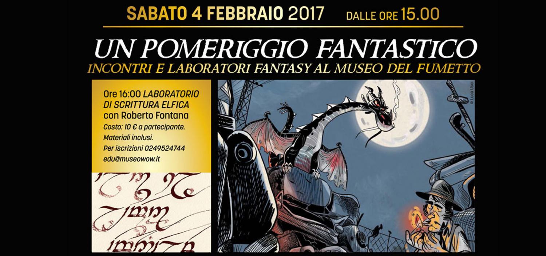 """<p>In occasione della mostra &ldquo;<a href=""""http://www.museowow.it/wow/it/mostra-di-illustrazione-tolkieniana/"""">Lords for the Ring</a>&rdquo;, allestita fino al 12 febbraio in collaborazione con Lucca Comics &amp; Games e Associazione Italiana Studi Tolkieniani, WOW Spazio Fumetto dedica un intero pomeriggio a tutti gli amanti del fantasy con presentazioni di libri e fumetti e uno speciale laboratorio di scrittura elfica. Si parler&agrave; di draghi, di Tolkien, di musica, di creature fantastiche e si imparer&agrave; a scrivere in elfico!</p><p><strong>Ore 15.30 - LE LINGUE DEGLI ELFI DELLA TERRA DI MEZZO</strong> <strong>Incontro con Gianluca Comastri</strong> L&rsquo;insieme degli idiomi delle varie razze della Terra-di-Mezzo &egrave; il vero cuore pulsante dell&rsquo;intera narrazione di Tolkien. Egli aveva inventato lingue e linguaggi sin dalla tenera infanzia, e, in anni successivi, ebbe a dichiarare in pi&ugrave; circostanze che la generazione dell&rsquo;intero corpus narrativo incentrato sulla Terra-di-Mezzo aveva il solo scopo di ricreare un luogo dove i linguaggi elfici, naneschi e orcheschi potessero prender vita. Il saggio di Gianluca Comastri, pubblicato da L&#39;Arco e la Corte, presenta la bellezza e la centralit&agrave; di questo aspetto della concezione che l&rsquo;autore aveva del ciclo narrativo cui dedic&ograve; l&rsquo;intera vita. <strong>Ore 16.00 - LABORATORIO DI SCRITTURA ELFICA con Roberto Fontana</strong> Le Tengwar compongono uno stile di caratteri usati dagli elfi per scrivere i loro linguaggi, il Quenya (la lingua degli elfi dell&rsquo;Ovest) e il Sindarin (la lingua degli elfi della Terra di Mezzo). Sono in Tengwar le parole scolpite sulla porta del Regno di Moria e l&rsquo;iscrizione a lettere di fuoco all&rsquo;interno dell&rsquo;unico anello&hellip; Un appuntamento imperdibile, tenuto da Roberto Fontana, per imparare a scrivere nella lingua degli elfi e per conoscere le mag&igrave;e della loro scrittura. Costo: 10 &euro; a partecipa"""