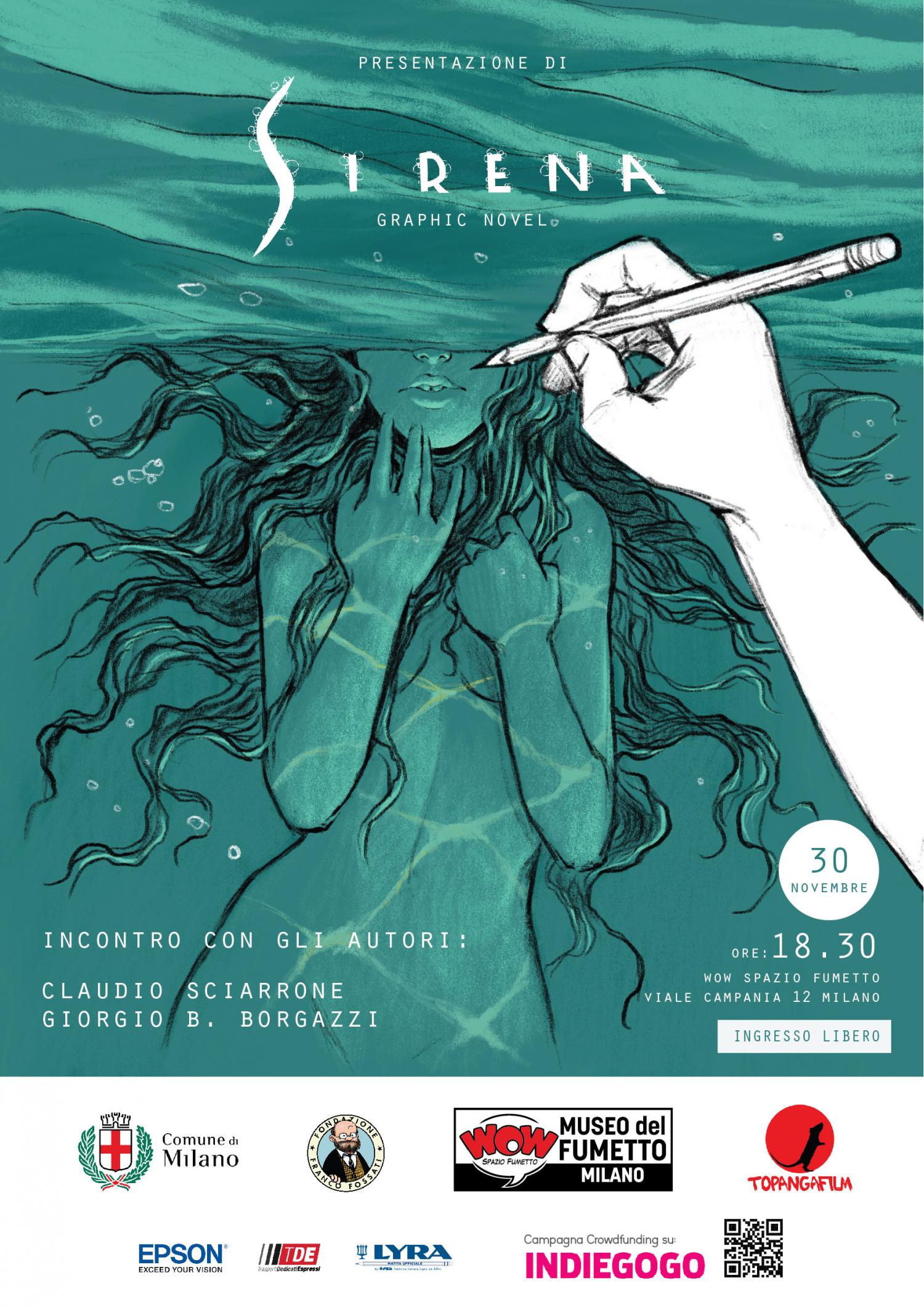 """<p><strong>Venerd&igrave; 30 novembre 2018 alle ore 18.30</strong> a WOW Spazio Fumetto il pubblico avr&agrave; l&rsquo;occasione di dialogare con gli autori del graphic novel &ldquo;Sirena&rdquo;, scoprendo in anteprima tante immagini e contenuti esclusivi del <strong>volume che &egrave; attualmente protagonista di una campagna di crowdfunding sulla piattaforma <a target=""""_blank"""" href=""""https://www.indiegogo.com/"""">Indiegogo</a></strong>. <strong>&ldquo;Sirena&rdquo; &egrave; il primo graphic novel indipendente scritto da Giorgio B. Borgazzi in collaborazione con Simona Fiori e illustrato da Claudio Sciarrone</strong>. Il noto fumettista Disney curer&agrave;, infatti, i disegni e l&rsquo;adattamento dando vita a una fiaba dark. Il progetto &egrave; a cura di <strong><a target=""""_blank"""" href=""""http://www.topangafilm.com/"""">Topanga Film</a></strong>. L&rsquo;idea degli autori nasce dall&rsquo;esigenza di sperimentare nuovi universi narrativi, creando una storia che possa diventare la genesi di un <strong>progetto transmediale indipendente</strong>, da un graphic novel a un film. Sirena sar&agrave;, infatti, il prequel, sottoforma di fumetto, di un lungometraggio caratterizzato da una commistione di forme d&rsquo;arte. L&rsquo;obiettivo principale del progetto &egrave; quello di dare valore all&rsquo;indipendenza artistica, nella quale il team creativo crede moltissimo, creando una storia che abbia la capacit&agrave; di coinvolgere i lettori attraverso una vicenda appassionante e ricca di emozioni. <strong>Per realizzare questo progetto gli autori hanno deciso di attivare una campagna di crowdfunding sulla piattaforma Indiegogo</strong>, un modo innovativo per far conoscere il fumetto dando la possibilit&agrave; a tutti gli appassionati di fare una donazione in cambio di un premio. <strong>La <a target=""""_blank"""" href=""""https://www.indiegogo.com/projects/sirena-graphic-novel-first-edition"""">campagna sar&agrave; attiva fino al 31 dicembre 2018</a> e il ricavato verr&agrave; uti"""