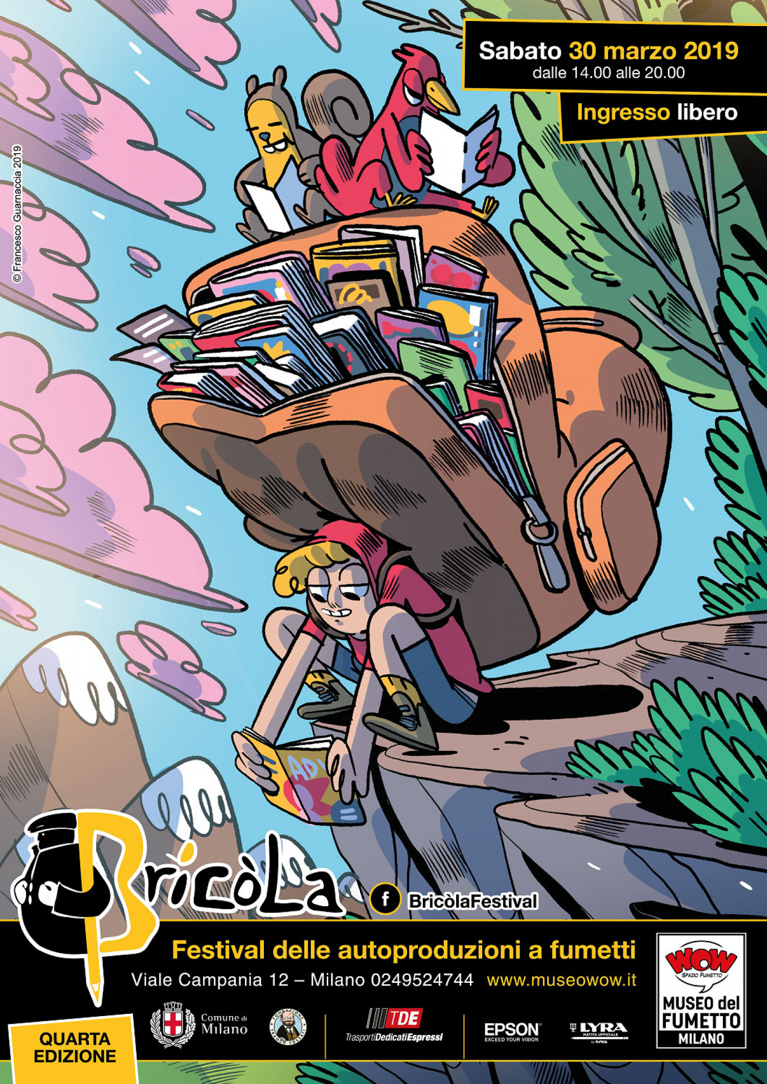 """<p><strong>Sabato&nbsp;30 marzo WOW Spazio Fumetto, il Museo del Fumetto di Milano, apre di nuovo le porte al mondo del fumetto indipendente e autoprodotto organizzando un festival dedicato a chi, non contento di leggere soltanto i fumetti, se li disegna e pubblica da solo.</strong> Si chiamava&nbsp;<strong>Bric&ograve;la</strong>&nbsp;la borsa usata in passato dai contrabbandieri lombardi nell&rsquo;attraversamento di Alpi e laghi, per portare dalla Svizzera quelle merci che in Italia non si potevano trovare. Bricola &egrave; anche il nome del festival milanese dedicato alle&nbsp;<strong>autoproduzioni a fumetti</strong>, che servir&agrave; a portare al&nbsp;pubblico che frequenta WOW Spazio Fumetto quelle produzioni originali che non &egrave; facile incontrare altrove. <strong>Dopo le scorse edizioni, torna sabato&nbsp;30 marzo</strong>&nbsp;il festival con cui WOW Spazio Fumetto vuole portare l&rsquo;attenzione sulla produzione pi&ugrave; originale e vivace che abbia visto luce negli ultimi anni, concentrandosi sull&rsquo;Italia e in particolare sulla nostra citt&agrave;, Milano. L&#39;illustrazione della&nbsp;<strong>locandina</strong>&nbsp;di quest&#39;anno &egrave; stata realizzata appositamente per il festival da <a target=""""_blank"""" href=""""https://baopublishing.it/autori/francesco-guarnaccia/""""><strong>Francesco Guarnaccia</strong></a>&nbsp;dell&#39;<a target=""""_blank"""" href=""""https://www.mammaiuto.it/""""><strong>Associazione Culturale Mammaiuto</strong></a>. <strong>Dalle 14:00&nbsp;le autoproduzioni invaderanno il piano terra del museo del fumetto</strong>.&nbsp;<strong>L&rsquo;ingresso sar&agrave; libero</strong>&nbsp;per tutti i visitatori, che potranno trovare stand di vendita e disegno degli autori e dei collettivi di autoproduzione. <strong>Saranno presenti durante tutto il pomeriggio <a target=""""_blank"""" href=""""https://www.facebook.com/AutoproduzioniFichissimeAnderground/"""">AFA Autoproduzioni Fichissime Anderground</a>,&nbsp;<a target=""""_blank"""" href=""""http://attacc"""