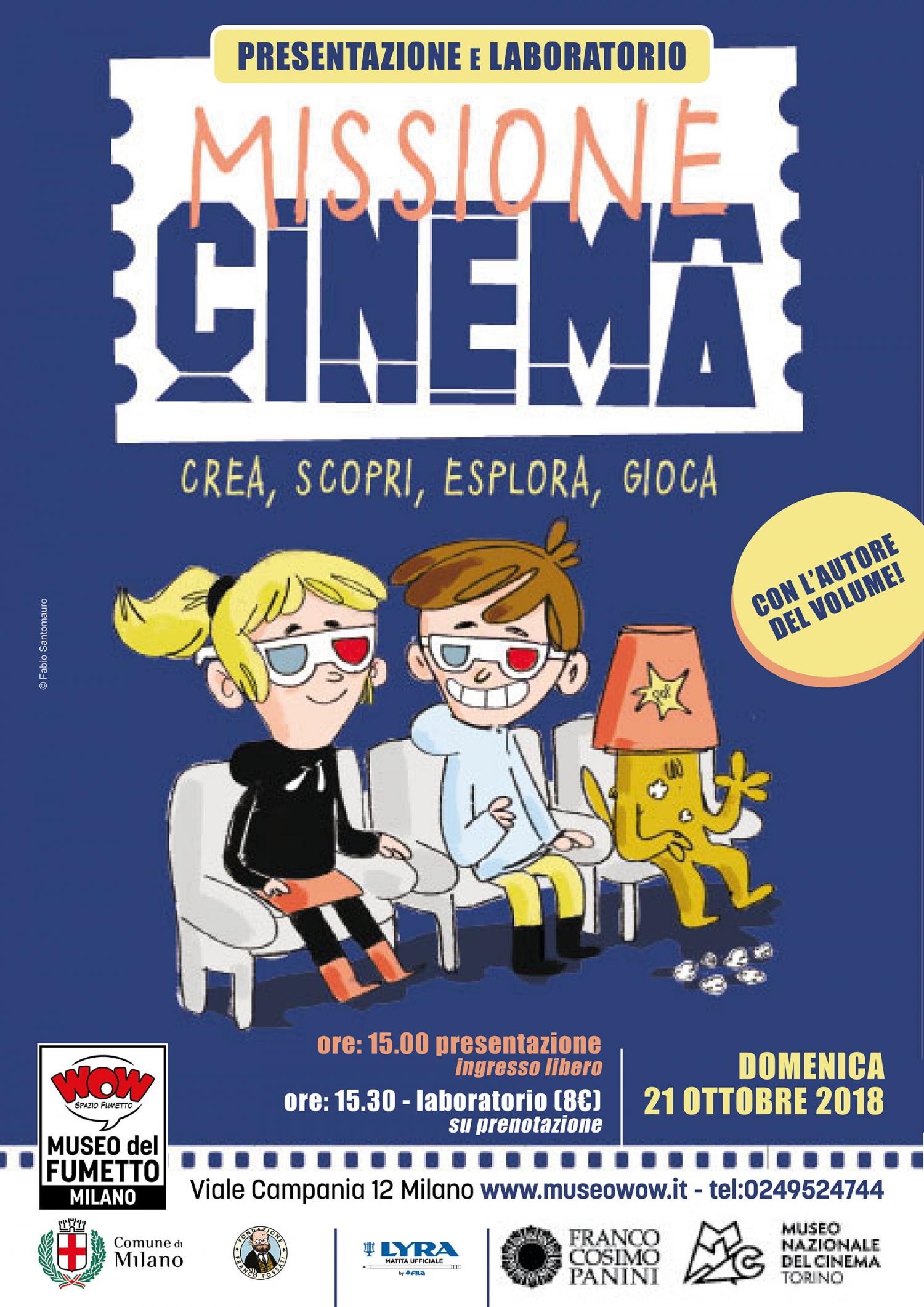 """<p><strong><a target=""""_blank"""" href=""""https://www.francopaniniragazzi.it/index.php/missione-cinema.html"""">Missione Cinema</a>&nbsp;(testi di&nbsp;Giulia Calandra, illustrazioni di Fabio Sanntomauro) &egrave; un libro pensato per accompagnare i giovani lettori alla scoperta del cinema attraverso curiosit&agrave; e approfondimenti</strong>. Un mix di divulgazione, aneddoti e spunti di attivit&agrave; porteranno il bambino a immedesimarsi nel regista: imparer&agrave; come si inventa una storia, come si creano i personaggi e l&rsquo;ambientazione, come deve parlare e muoversi un attore, come si suscita l&rsquo;emozione e come si rende un film indimenticabile&hellip; <strong>E dopo la presentazione del libro, l&rsquo;illustratore <a target=""""_blank"""" href=""""http://fabiosantomauro.blogspot.com/"""">Fabio Santomauro (Fabbio Conduebbi)</a> sveler&agrave; ai giovani disegnatori i &ldquo;trucchi&rdquo; del mestiere</strong>. Con matite, cartoncini e colori daremo vita a una illustrazione ispirata alle pagine del libro. Chi saranno i protagonisti della nostra storia? Venite a scoprirlo! Evento organizzato in collaborazione con <strong><a target=""""_blank"""" href=""""https://www.fcp.it/"""">Franco Cosimo Panini</a></strong>. Il laboratorio &egrave;&nbsp;per bambini&nbsp;<strong>dai&nbsp;7 anni in su;&nbsp;l&#39;iscrizione&nbsp;al laboratorio d&agrave; diritto a uno sconto sull&#39;acquisto del libro &ldquo;Missione Cinema&rdquo;</strong>.</p>"""