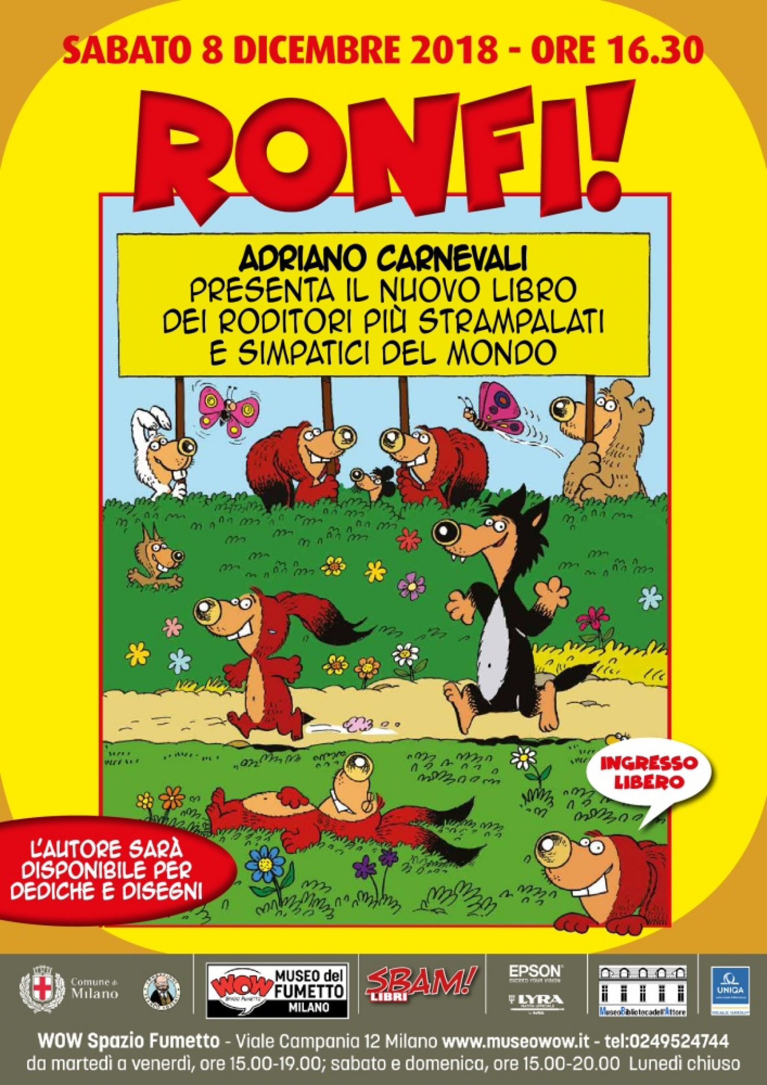 """<p><strong>Ritorna a WOW Spazio Fumetto <a target=""""_blank"""" href=""""http://www.adrianocarnevali.it/"""">Adriano Carnevali</a> con il suo ultimo libro: <a target=""""_blank"""" href=""""https://sbamcomics.it/blog/2018/11/10/sbamlibri-ronfi/"""">RONFI!</a></strong> (<a target=""""_blank"""" href=""""https://sbamcomics.it/sbamlibri/"""">SBAM!Libri</a> - I maestri delle nuvolette, 15 euro). Gli strampalati roditori dei boschi tornano per divertire tra giochi, pagine da colorare e avventure a fumetti. Pensato per i bambini, piacer&agrave; certamente anche ai grandi, che potranno ritrovare le bizzarre creature pelose dopo le loro letture d&rsquo;infanzia, oppure scoprire i numerosi livelli di lettura delle loro storie.</p><p>&nbsp;<p>I <strong>Ronfi</strong> sono nati nel 1981 sul <a target=""""_blank"""" href=""""http://www.museowow.it/wow/il-corriere-dei-piccoli-in-mostra/""""><strong>Corriere dei Piccoli</strong></a>, il mitico settimanale con cui Adriano Carnevali (gi&agrave; autore sul Corriere dei Ragazzi&nbsp;degli episodi della &quot;Contea di Colbrino&quot;) ha collaborato a lungo. Ecco come l&rsquo;autore presenta&nbsp;le sue&nbsp;buffe creature: &ldquo;<strong>Il Ronfo (nome scientifico <em>Ronfus-Ronfus</em>) &egrave; un piccolo roditore dotato da madre Natura di qualit&agrave; eccezionali</strong>. Infatti possiede: lunghe orecchie, che gli servono per impigliarsi nei rami; un grande naso, che gli permette di fare starnuti colossali quando &egrave; raffreddato; una folta pelliccia, color pelo di ronfo, che d&#39;estate tiene un caldo che non vi dico. Il Ronfo mangia legno dolce e trascorre circa sei mesi all&#39;anno in letargo nella tana. Durante gli altri mesi divide il suo tempo tra ronfate all&#39;aperto, riposini e pisoloni&rdquo;. I Ronfi sono diventati tra i personaggi pi&ugrave; riconoscibili degli ultimi anni del Corrierino, e vengono ancora regolarmente pubblicati sul mensile enigmistico Giocolandia. Il piccolo popolo dei Ronfi &egrave; stato protagonista a WOW Spazio Fumetto di una <a targ"""