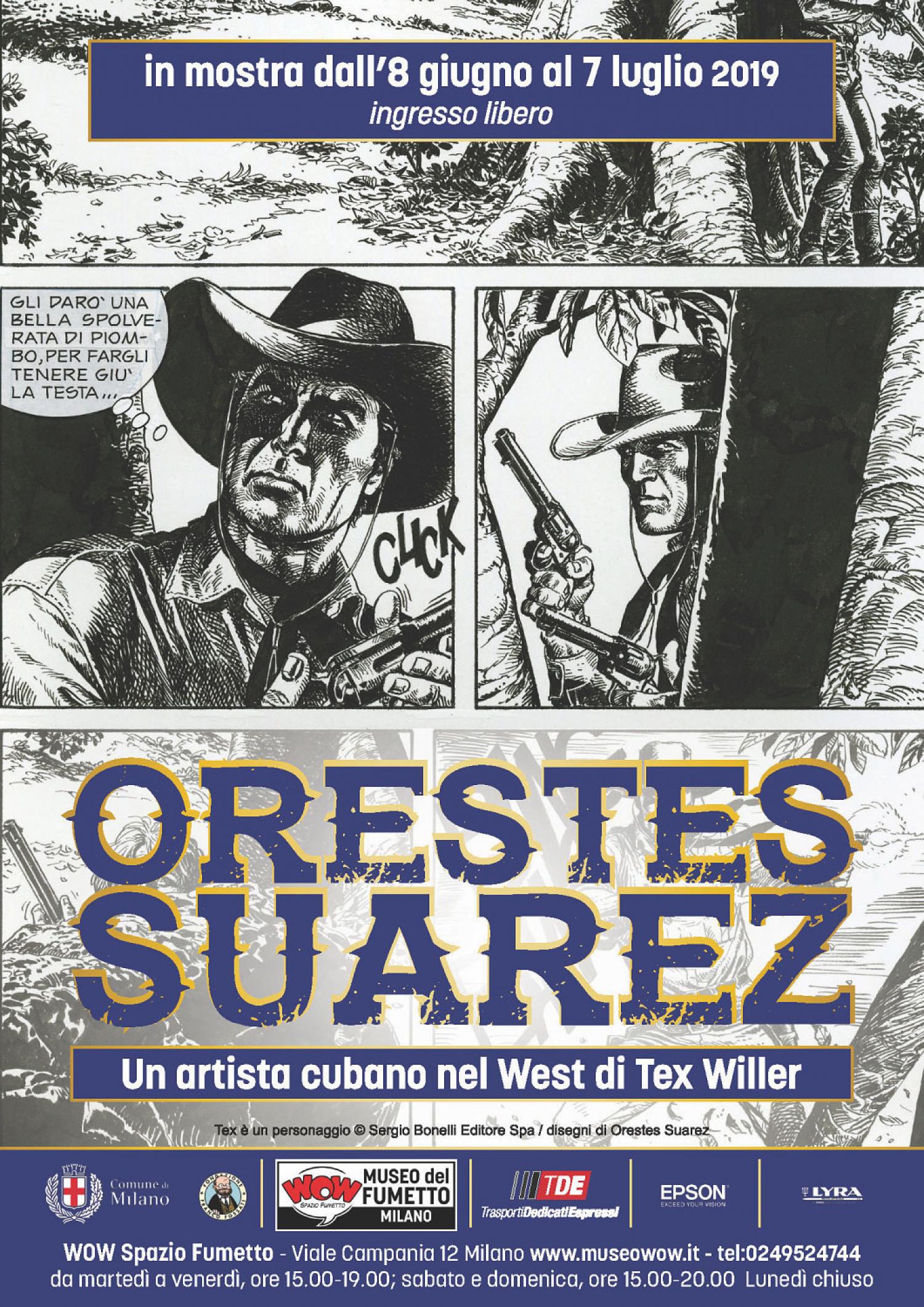 <p><strong>Tex Willer &egrave; senza dubbio uno dei personaggi pi&ugrave; amati del fumetto italiano: a scrivere e disegnare le sue avventure sono stati chiamati negli anni i maggiori autori internazionali.&nbsp;</strong><strong>Tra di&nbsp;loro c&rsquo;&egrave; il disegnatore cubano Orestes Suarez: dall&#39;8 giugno al 7 luglio a WOW Spazio Fumetto saranno in&nbsp;mostra&nbsp;una selezione di&nbsp;tavole originali tratte da&nbsp;&quot;I rapitori&quot;</strong>, storia pubblicata&nbsp;in Almanacco del West 21 (2014) su&nbsp;sceneggiatura di Tito Faraci. Un&#39;occasione unica per scoprire l&#39;universo di Tex Willer sapientemente rivisitato dal tratto di un grande disegnatore. <strong>Durante la durata della mostra&nbsp;sar&agrave; inoltre possibile acquistare&nbsp;le tavole originali</strong>, il cui ricavato andr&agrave; interamente all&#39;autore. <strong>Orestes Suarez Lemus</strong> nasce a Pinar del R&iacute;o (Cuba) il 14 marzo 1950. Nel 1979 realizza il primo fumetto: &quot;Viaje de exploraci&oacute;n a un extra&ntilde;o dibujo&quot;.&nbsp;Nel 1983, collabora con la rivista <em>Zunz&uacute;n</em> (Editora Abril) e altre testate della stessa Casa editrice, come il settimanale <em>Pionero</em> e <em>El Gu&iacute;a</em>. Negli anni Suarez presta la sua matita a storie realistiche come grottesche, venendo&nbsp;premiato pi&ugrave; volte in rassegne internazionali e&nbsp;partecipando alla prima edizione della Bienal de Historietas di R&iacute;o de Janeiro&nbsp;(1991).&nbsp;Le sue qualit&agrave; professionali non sfuggono all&#39;editore italiano Sergio Bonelli, che lo conosce nel febbraio 1994 al 3&deg; Encuentro iberoamericano de historietistas e lo ingaggia nella sua scuderia, impegnandolo nella serie di <strong>Mister No</strong>. Nel 2010 si dedica anche a <strong>Tex Willer</strong>, con la storia &quot;I ribelli di Cuba&quot; (ventiquattresimo <em>Tex Speciale</em>). Oltre che per la Sergio Bonelli Editore, Suarez pubblica in Italia con la casa editrice Eur