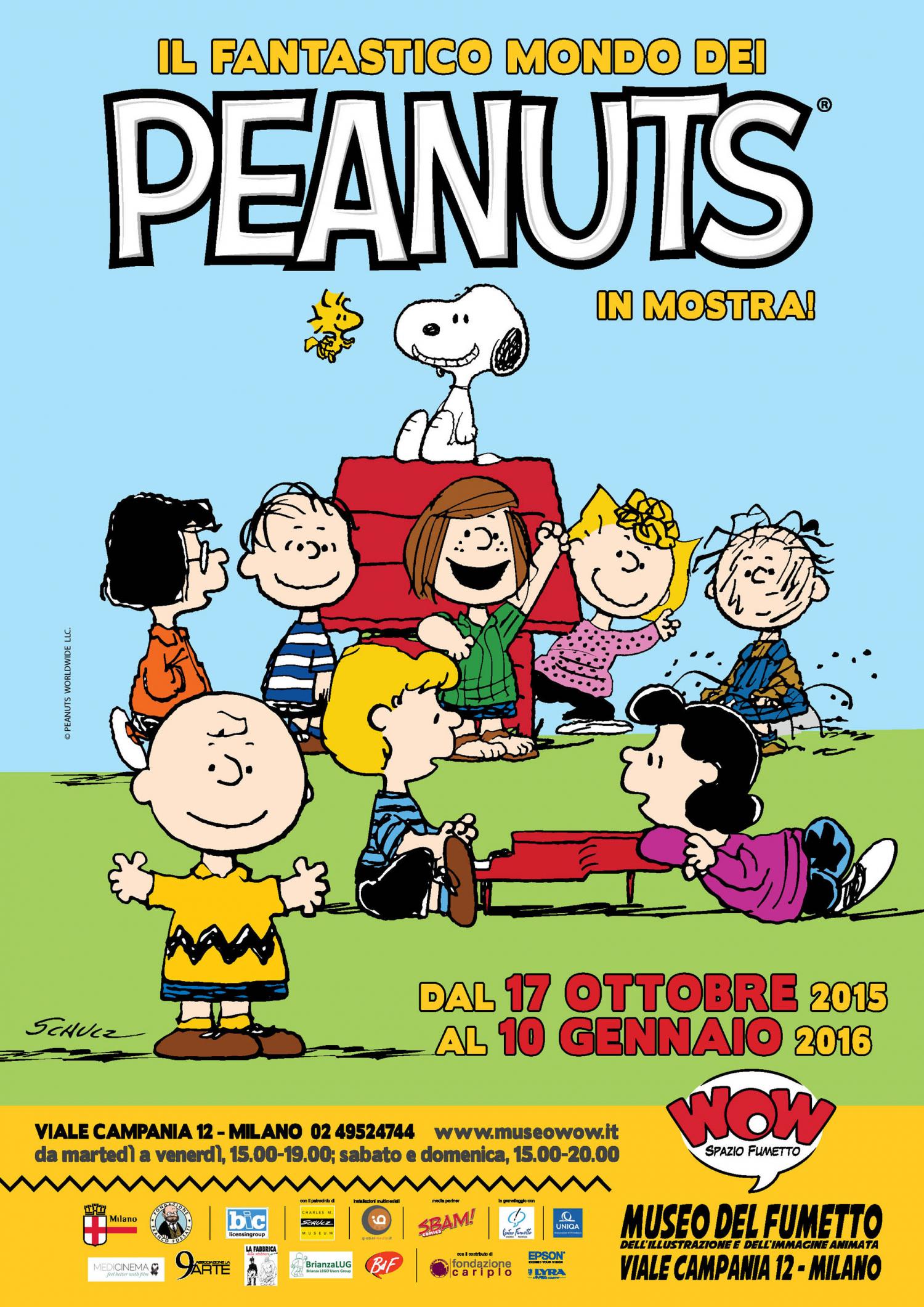 """<p>Per festeggiare il sessantacinquesimo anniversario della nascita dei <strong>Peanuts, </strong>creati dal disegnatore americano Charles Schulz nel 1950, e in occasione dell&rsquo;attesissima uscita del film &ldquo;Snoopy &amp; Friends &ndash; Il film dei Peanuts&rdquo; (nelle sale italiane a partire dal prossimo 5 novembre), presentiamo in collaborazione con <a target=""""_blank"""" href=""""http://www.biclicensing.it/""""><strong>BIC Licensing</strong></a> una mostra davvero unica dedicata al gruppo di bambini pi&ugrave; amato della Storia del Fumetto, che gode del prestigioso patrocinio del <a target=""""_blank"""" href=""""http://schulzmuseum.org/""""><strong>Charles M. Schulz Museum</strong></a> di Santa Rosa (California). Per tutta la durata della mostra saranno organizzati incontri e tavole rotonde con esperti e studiosi, eventi e laboratori di disegno. L&rsquo;impacciato Charlie Brown, la scorbutica Lucy, il tenero Linus, l&rsquo;intraprendente Piperita Patty, il solitario Schroeder e naturalmente l&rsquo;insuperabile Snoopy, pi&ugrave; tutti gli altri membri della compagnia, svelano ai visitatori i segreti del loro successo grazie all&rsquo;esposizione di <strong>tavole originali</strong> del grande Charles Schulz, pannelli biografici, divertenti photoset, statue, installazioni multimediali, video, volumi, riviste, quotidiani d&rsquo;epoca, gadget, giochi, documenti, comic books, manifesti cinematografici che raccontano un successo lungo sessantacinque anni. Nella mostra il visitatore potr&agrave; leggere pi&ugrave; di <strong>500 strisce</strong>, rivedere le scene pi&ugrave; belle dei cartoni animati, scattarsi divertenti fotografie in compagnia del suo personaggio preferito e scoprire nuovi contenuti del film &ldquo;Snoopy &amp; Friends&rdquo;! IL FANTASTICO MONDO DEI PEANUTS dedica a questo incredibile fenomeno di editoria e costume un doppio percorso tematico e cronologico che illustra al visitatore come le storie dei Peanuts si sono evolute nei contenuti&nbsp; grazie a pre"""