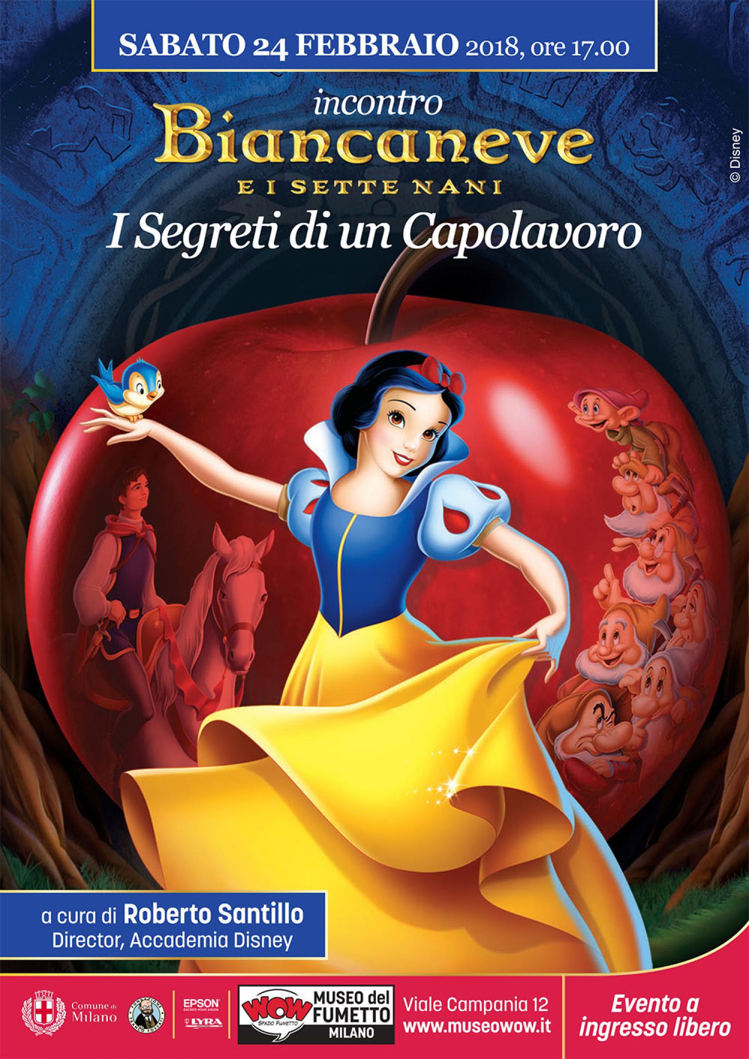 """<p>Ultimo appuntamento del ricco calendario di incontri organizzati in occasione della mostra <a target=""""_blank"""" href=""""http://www.museowow.it/wow/it/sogno-e-avventura/"""">Sogno e Avventura</a>, <strong>Sabato 24 febbraio, a partire dalle 17.00</strong>, <strong>Roberto Santillo</strong>,<em> director</em> dell&rsquo;Accademia Disney, che da oltre vent&rsquo;anni forma i nuovi artisti che disegneranno i personaggi Disney, racconter&agrave; in uno speciale incontro <strong>tutti i segreti e i &ldquo;dietro le quinte&rdquo; di <em>Biancaneve e i Sette Nani</em></strong>. Dopo essersi affermato come uno dei maggiori produttori di cortometraggi d&#39;animazione, grazie anche alla straordinaria invenzione di Topolino, <strong>Walt Disney</strong> decise di provare a realizzare qualcosa di mai tentato fino ad allora: un <strong>intero</strong> film completamente animato ispirato a una delle fiabe pi&ugrave; popolari, Biancaneve. Il progetto, sviluppato fin dal 1934, divent&ograve; sempre pi&ugrave; complesso e costoso. Gli animatori si trovarono per la prima volta a lavorare su complesse figure umane disegnate con uno stile realistico con continui cambiamenti alla storia e revisioni da parte di Disney in persona. Definito <strong>&ldquo;la follia di Disney&rdquo;</strong> per il costo e lo sforzo produttivo, quando il film usc&igrave; nelle sale ottenne uno straordinario successo di pubblico e critica grazie alla perfetta commistione di umorismo, musica, romanticismo, avventura e perfino un pizzico di paura. Ancora oggi, ad ottant&rsquo;anni dalla sua uscita, <em><strong>Biancaneve e i sette nani</strong> </em>&egrave; considerato un<strong> grande classico del cinema</strong>, mentre i suoi protagonisti, dalla dolce Biancaneve alla perfida Regina e ai simpaticissimi nani, sono amati e conosciuti da generazioni di spettatori. <strong>Dietro un film cos&igrave; ambizioso e dalla realizzazione cos&igrave; complessa, si nascondono molti segreti</strong>. Per arrivare all&rsquo;"""