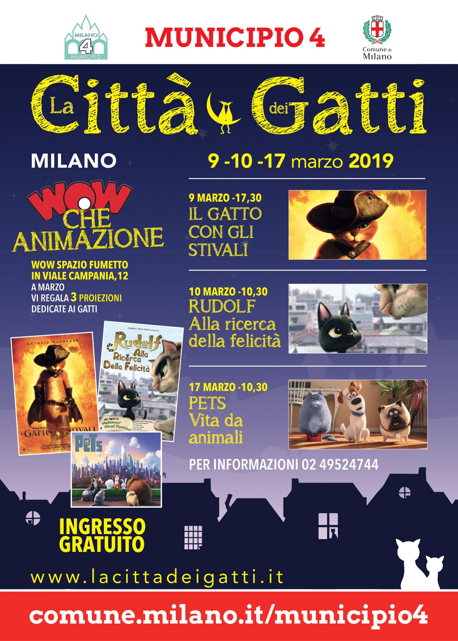 """<p><strong>Tre appuntamenti animati a WOW Spazio Fumetto in occasione de <a target=""""_blank"""" href=""""http://www.museowow.it/wow/la-citta-dei-gatti-2019/"""">La Citt&agrave; dei Gatti</a></strong>, il festival organizzato da da&nbsp;<strong><a target=""""_blank"""" href=""""http://www.urbanpetitalia.com/"""">UrbanPet</a></strong>. Tre film con protagonisti gatti animati, in proiezioni su grande schermo in collaborazione con il Municipio 4.</p>"""