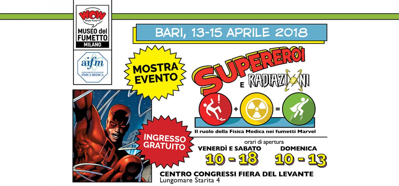 <p><strong>Per celebrare i 20 anni di AIFM (Associazione Italiana di Fisica Medica) durante il X Congresso Nazionale, sar&agrave; possibile visitare la mostra aperta al pubblico e organizzata per l&rsquo;occasione &ldquo;Supereroi e radiazioni, il ruolo della Fisica Medica nei fumetti Marvel&rdquo;.</strong> L&rsquo;esposizione, ideata e realizzata da AIFM in collaborazione con WOW Spazio Fumetto, mostrer&agrave; <strong>la nascita e l&rsquo;evolversi dei diversi Supereroi&nbsp;grazie all&rsquo;utilizzo delle Radiazioni</strong>, in parallelo all&rsquo;evoluzione tecnologica avvenuta nell&rsquo;impiego e utilizzo delle Radiazioni da parte della figura del Fisico Medico, egli stesso moderno &ldquo;Supereroe&rdquo; nel partecipare alla lotta contro il cancro. I supereroi Marvel nascono negli anni Sessanta, secondo la formula &quot;supereroi con superproblemi&quot;: oltre alle avventure in calzamaglia devono affrontare alti e bassi della vita di ogni giorno, dalle bollette da pagare alle complicazioni sentimentali. Oggi pi&ugrave; famosi che mai grazie a kolossal cinematografici e serie tv che li vedono protagonisti, Spider-Man, Devil e tutti gli altri acquisiscono i propri poteri grazie alle radiazioni, che arrivano nei modi pi&ugrave; disparati, dal ragno radioattivo di Spider-Man alla bomba gamma dell&#39;incredibile Hulk. <strong>La mostra sar&agrave; visitabile dal 13 al 15 aprile. Durante la mattinata di domenica, dalle 10:00 alle 13:00, saranno presenti anche i ragazzi di Marvel Cosplay Puglia</strong>. Potrete conoscere Spider-Man, Capitan America, Deadpool e Ant-man in persona oltre a molti altri Supereroi Marvel!</p>