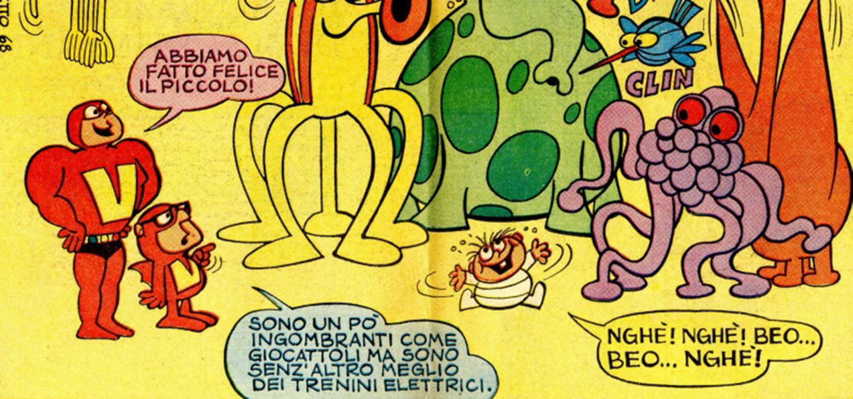 """<p><strong>Mentre Il Giorno dei ragazzi affascinava settimanalmente un vasto pubblico di bambini, ragazzi e adulti, un &quot;Disney&quot; italiano rivoluzionava il nostro cinema d&#39;animazione: <a target=""""_blank"""" href=""""http://www.bozzetto.com/"""">Bruno Bozzetto</a>!</strong> Nel 1965 Bozzetto portava infatti nelle sale nientemeno che un primo lungometraggio, <em><strong>West and Soda</strong></em>, straordinaria, divertente e sottile parodia del &quot;western all&#39;italiana&quot;. E nel 1968 replicava l&#39;impresa con <em><strong>Vip - mio fratello superuomo</strong></em>, satira esilarante che non risparmiava la societ&agrave; dei consumi, la pubblicit&agrave;, le piccole e grandi ipocrisie e soprattutto lo stesso supereroismo, nell&#39;anno della contestazione globale. <strong>Il Giorno dei ragazzi chiese a Bruno Bozzetto una riduzione a fumetti dei due film</strong>, o perlomeno delle storie con gli stessi personaggi. Le pagine prodotte dal suo Studio apparvero negli ultimi anni del mitico &quot;supplemento gratuito del gioved&igrave;&quot; (e sull&#39;inserto di enigmistica &quot;Il Giorno giochi quiz&quot;, dopo la chiusura della testata). Insieme a Bozzetto lavorarono per quei fumetti vari membri del suo staff, compreso il bravo <a target=""""_blank"""" href=""""http://www.museowow.it/wow/mostra-omaggio-a-giuseppe-lagana/"""">Giuseppe Maurizio Lagan&agrave;</a>. <strong>In occasione della <a target=""""_blank"""" href=""""http://www.museowow.it/wow/il-giorno-dei-ragazzi-in-mostra/"""">mostra dedicata ai 60 anni de Il Giorno dei Ragazzi</a>, sabato 13 maggio, alle ore 16:00, Bruno Bozzetto sar&agrave; al museo WOW Spazio Fumetto per un incontro, a ingresso libero, dove racconter&agrave; dei due film e delle pagine disegnate per la rivista. Un tuffo nel passato che si annuncia di pura emozione.</strong> In esposizione si trover&agrave; anche la statuetta realizzata a tiratura limitata da Alessandro Zecca per <em>West and Soda</em> e, in anteprima assoluta, il prototipo e il primo es"""