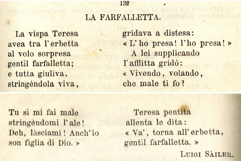 """<p>In occasione di MuseoCity 2021, WOW Spazio Fumetto aveva progettato la riapertura del museo e l&#39;esposizione de <strong><em>L&rsquo;arpa della fanciullezza</em></strong> (nella versione del 1881)&nbsp;di Luigi S&agrave;iler.</p><p>A seguito del peggioramento della situazione sanitaria&nbsp;in Lombardia e della temporanea chiusura degli&nbsp;istituti museali,&nbsp;<strong>MuseoCity 2021 diventa&nbsp;online: in attesa di riaprire, esponiamo sul nostro sito le immagini dell&#39;antologia scolastica di Luigi S&agrave;iler.</strong></p><p>&nbsp;</p><p><em>L&rsquo;arpa della fanciullezza</em> è un&rsquo;<strong>antologia scolastica</strong> pubblicata nel 1859, esposta nella versione definitiva del 1881: testi e poesie per bambini tra i 5 e i 10 anni, raccolti e ordinati dall&rsquo;insegnante milanese di scuola secondaria Luigi Sàiler. Tra mille altre cose, l&rsquo;autore inserisce anche la sua filastrocca <em>La farfalletta</em>, destinata a diventare famosa con il titolo <strong><em>La vispa Teresa</em></strong>. Quei pochi versi, che si appellano al fanciullo per il rispetto della natura e della vita, saranno ripetuti da milioni di bambini per decenni:<strong> stimoleranno interpretazioni, parodie e soluzioni grafiche a numerosi artisti</strong> (Trilussa, Tofano, Apolloni, Finozzi, Scarpelli, Belli). <em>La vispa Teresa</em> diventa un nome emblematico, anche nel Fumetto: Yambo ne scrive un lungo racconto illustrato nel 1914 mentre Sto &ndash; papà del Signor Bonaventura &ndash; la fa protagonista di storie per il &quot;Corriere dei piccoli&quot; nel 1921; si chiama &quot;La vispa Teresa&quot; anche un importante settimanale per ragazze e adolescenti (1947-1953).</p><p>Autore di libri scolastici scritti e compilati con intelligenza, <a target=""""_blank"""" href=""""http://www.lfb.it/fff/giorn/aut/s/sailer.htm""""><strong>Sàiler</strong></a> è anche il fondatore e direttore del giornale per ragazzi &quot;Le prime letture&quot; (1870-1878), che anticipa inediti di Antonio St"""