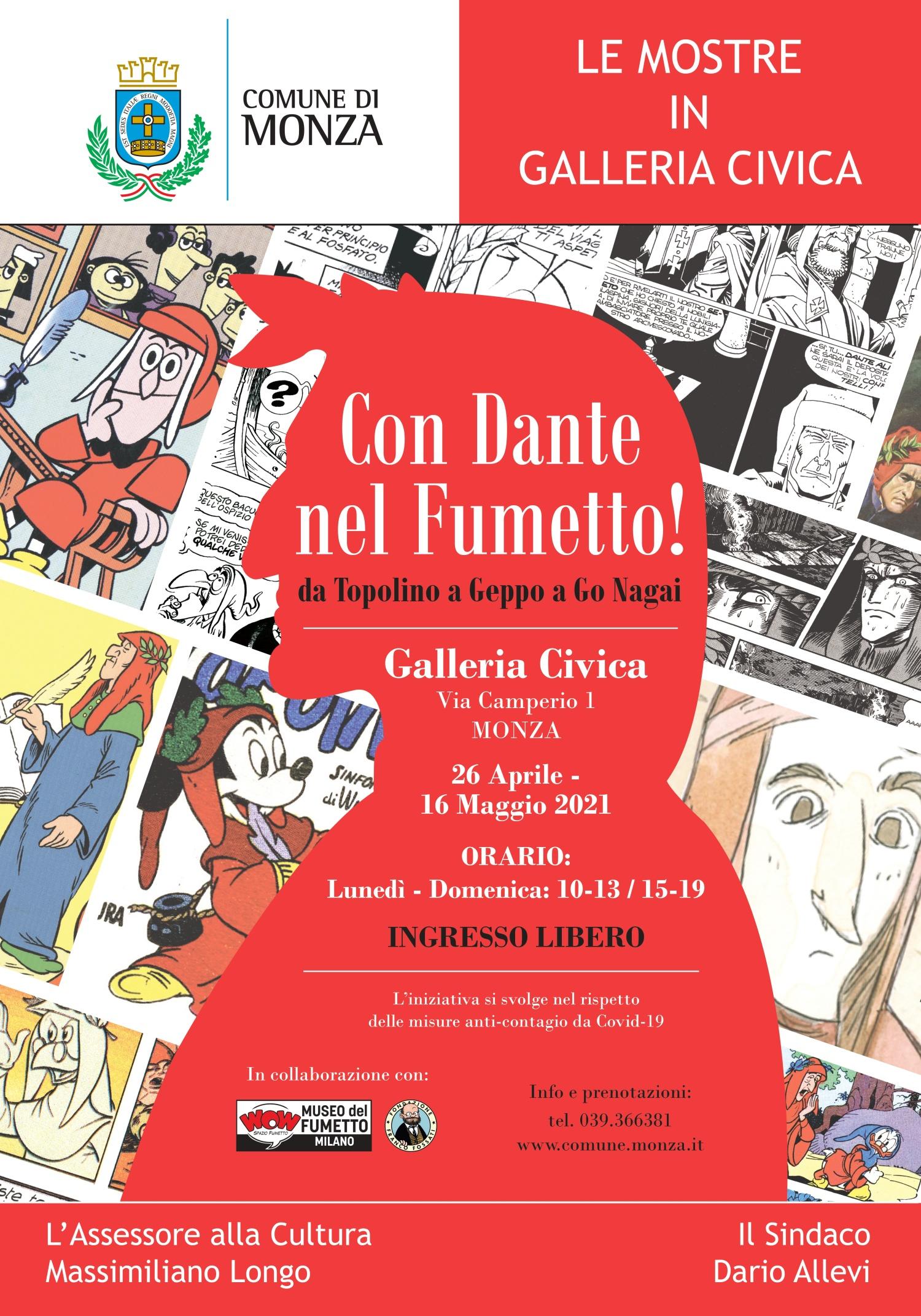 <p>Un viaggio a fumetti tra la vita del Sommo Poeta, di cui quest&rsquo;anno ricorrono i 700 anni dalla morte, e il suo capolavoro, la Divina Commedia. La mostra &quot;<strong>Con Dante nel Fumetto! Da Topolino a Geppo a Go Nagai&quot;</strong>&nbsp;(<strong>G</strong><strong>alleria Civica&nbsp;di Monza)</strong> trasporta la vita di Dante Alighieri e i versi immortali del suo capolavoro nel mondo delle &quot;strisce&quot;.</p><p>&nbsp;</p><p>Tra le storie presenti in mostra la pi&ugrave; nota &egrave; <strong>L&rsquo;Inferno di Topolino</strong>, capostipite di un lungo filone di parodie Disney e uno dei classici pi&ugrave; amati e ristampati: una storia disegnata da Angelo Bioletto e scritta da Guido Martina in perfette e aggiornate&nbsp;rime dantesche, pubblicata nel 1950. Da Topolino a Paperino con i disegni originali de <strong>L&#39;Inferno di Paperino</strong>, scritto da Massimo Marconi e dipinto da Giulio Chierchini.</p><p>&laquo;<em>Fatti non foste a legger comics bruti, ma per seguir storielle di valenza</em>&raquo; recita la versione comics della Divina Commedia di <strong>Marcello Toninelli</strong> pubblicata sulle pagine di <em>Off-Side</em>&nbsp;e ripresa anche da <em>Undercomics</em>&nbsp;e <em>Il Giornalino</em>, che pubblic&ograve; tutte e tre le Cantiche nella versione pi&ugrave; completa mai realizzata. Tra i tanti omaggi all&rsquo;Inferno non poteva mancare il diavolo buono <strong>Geppo</strong>; lo sfortunato ladro <strong>Cattivik</strong> ha, invece, passato in rassegna tutte e tre le Cantiche, in una divertente trilogia firmata dallo sceneggiatore Moreno Burattini e dal disegnatore Giorgio Sommacal.</p><p>Una moderna rilettura del capolavoro dantesco &egrave; <strong><em>La Commedia Diabolica</em></strong>&nbsp;di Renzo Maggi. In un filone pi&ugrave; avventuroso, si possono ricordare gli omaggi danteschi di <strong>Nathan Never</strong>, <strong>Martin Myst&egrave;re</strong>, <strong>Dampyr</strong> e <strong>Lazarus Ledd</strong>, in cu